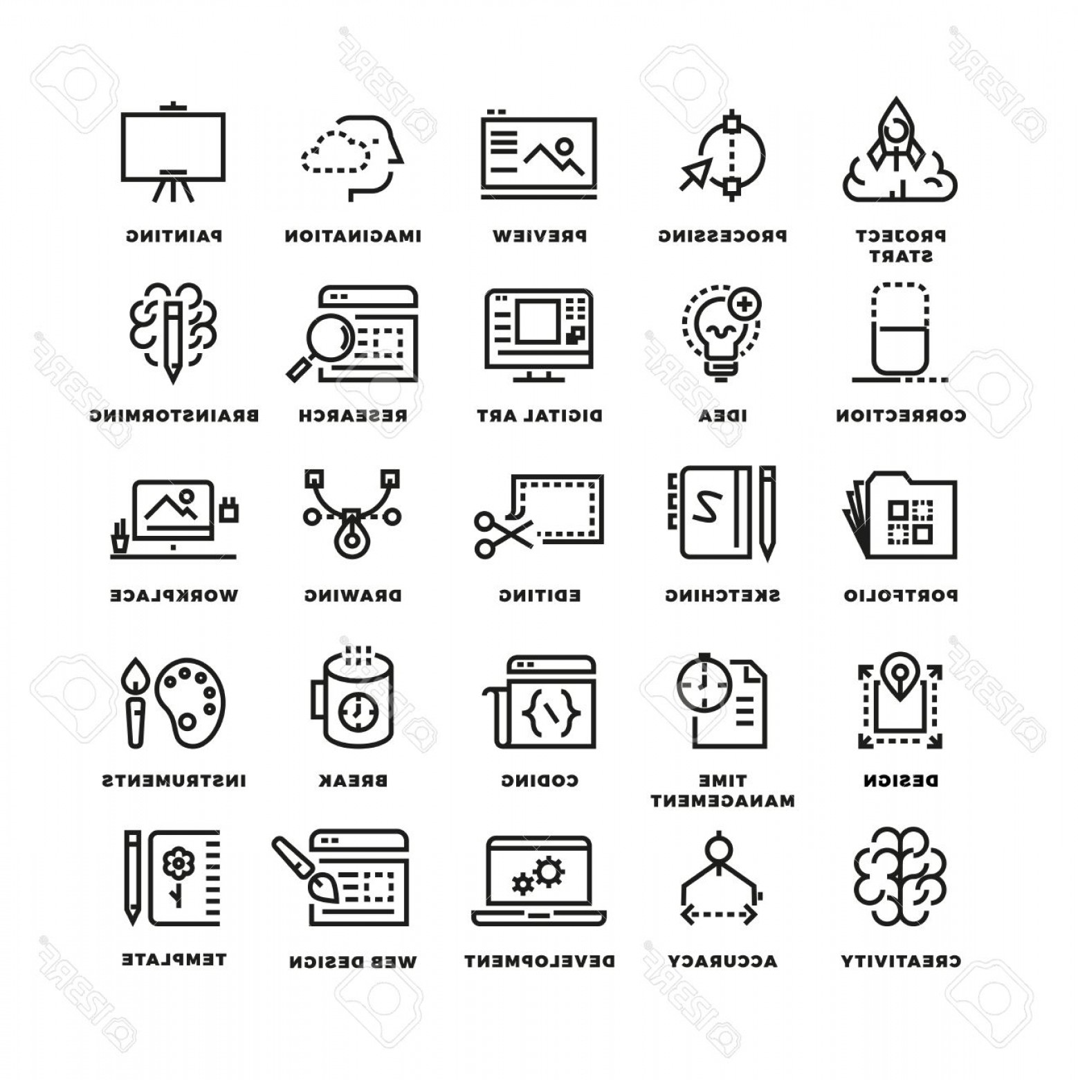 Art Project Icon Vector: Photostock Vector Vector Creative Process Line Icons Business Icon Creative Process Project Start Creative Imagination