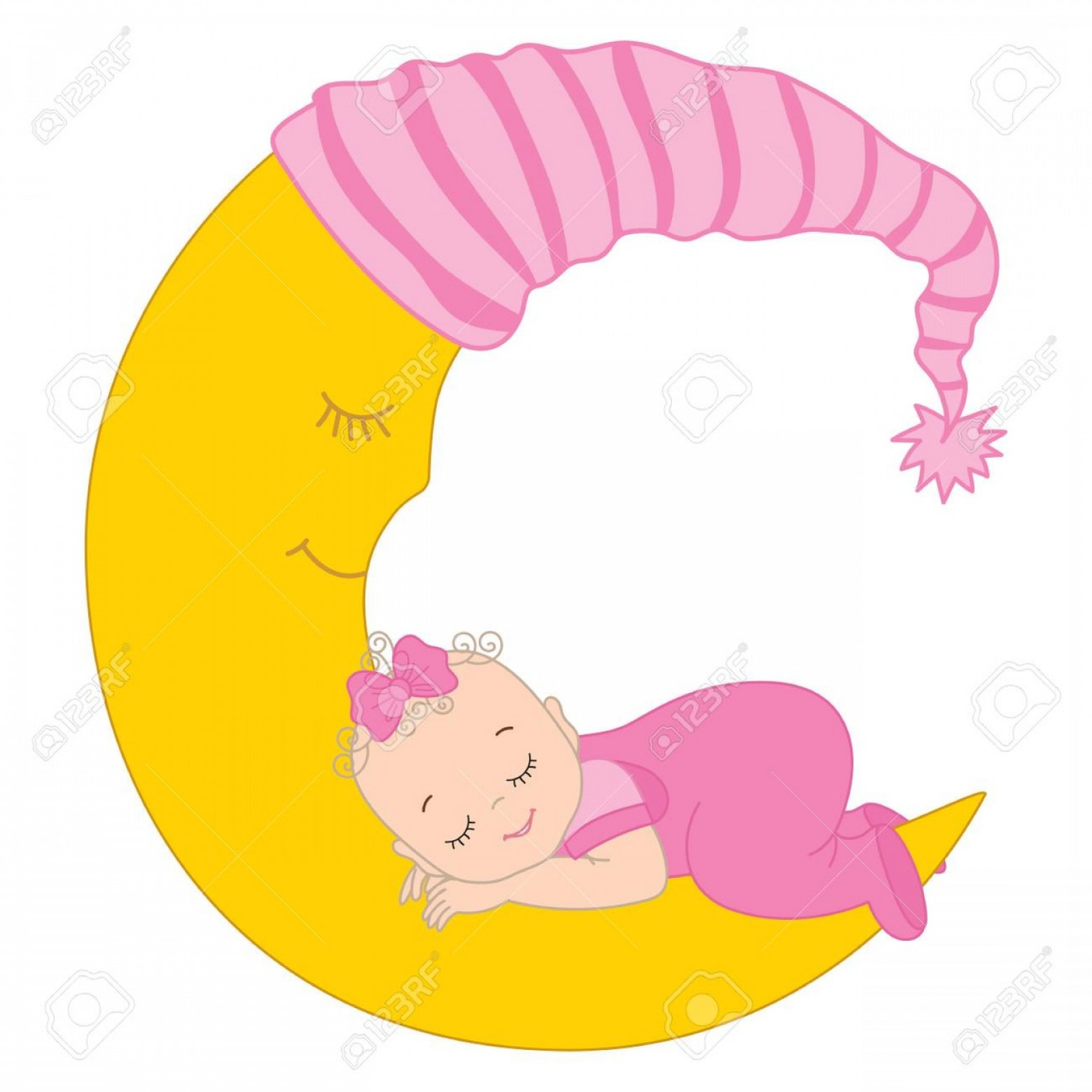Sleeping Baby Vector: Photostock Vector Vector Cute Baby Girl Sleeping On The Moon Vector Baby Girl Baby Girl Vector Illustration