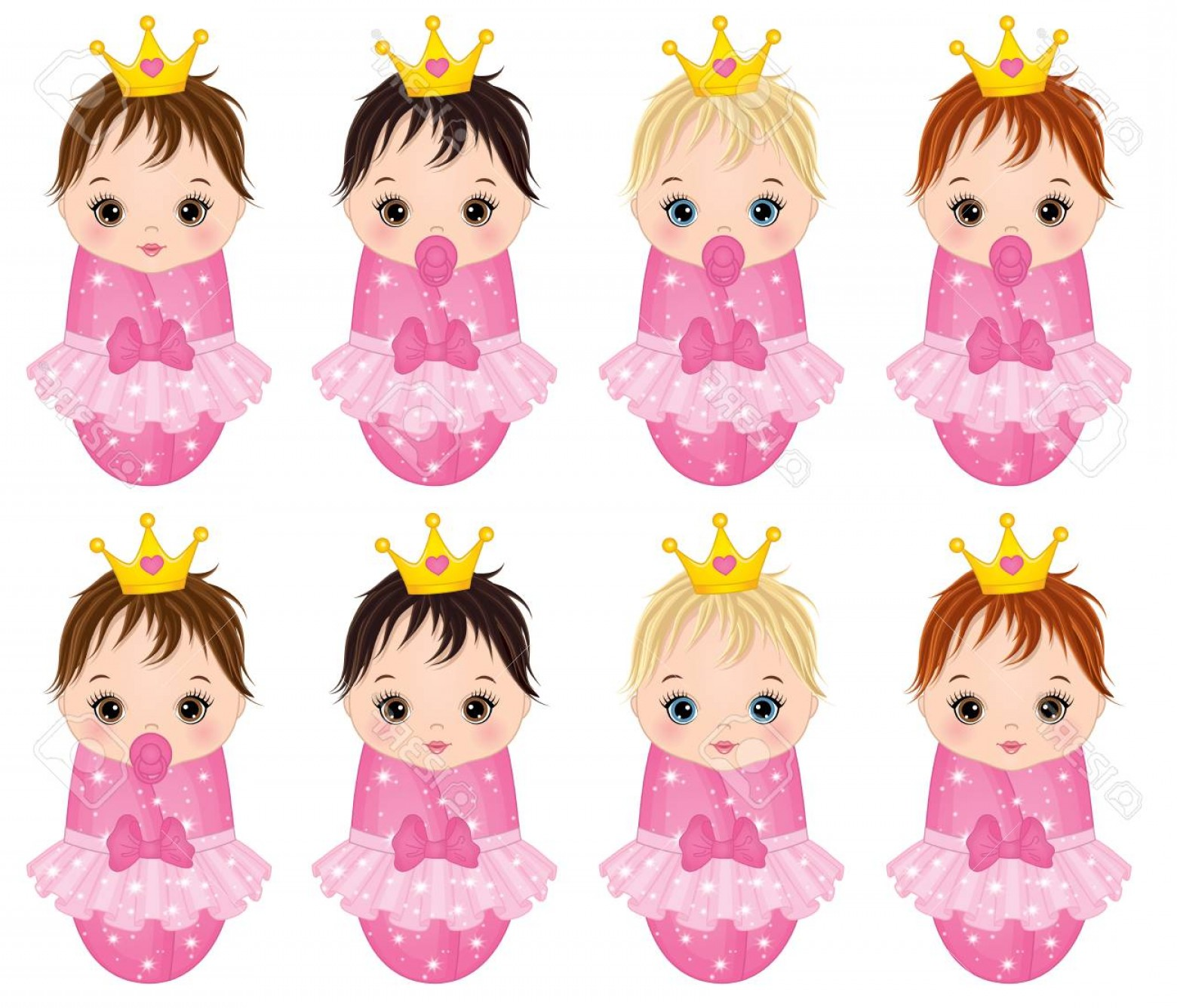 Princess Baby Girl Vector: Photostock Vector Vector Cute Baby Girls Dressed As Princesses Vector Little Princesses With Various Hair Colors