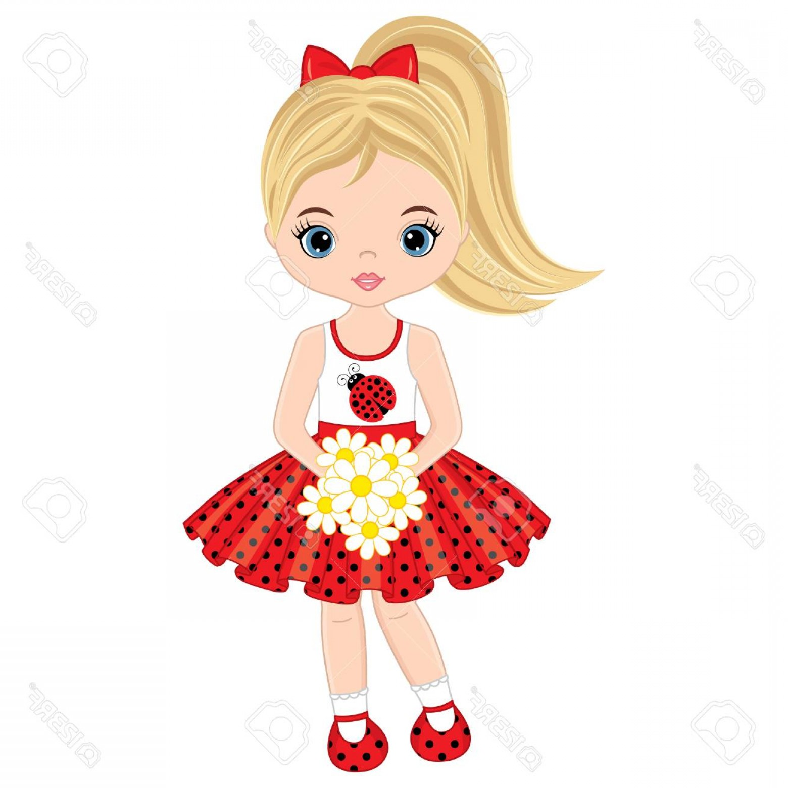 Vector Flower Girl Dresses: Photostock Vector Vector Cute Little Girl With Flowers Vector Little Girl In Polka Dot Dress Little Girl Vector Illust