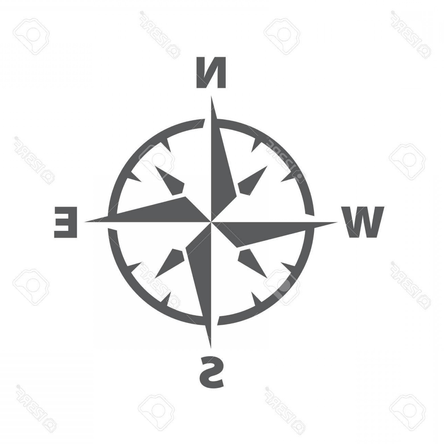 Simple Compass Vector Black And White: Photostock Vector Vector Dark Grey Compass Windrose Icon With A Simple Modern Look