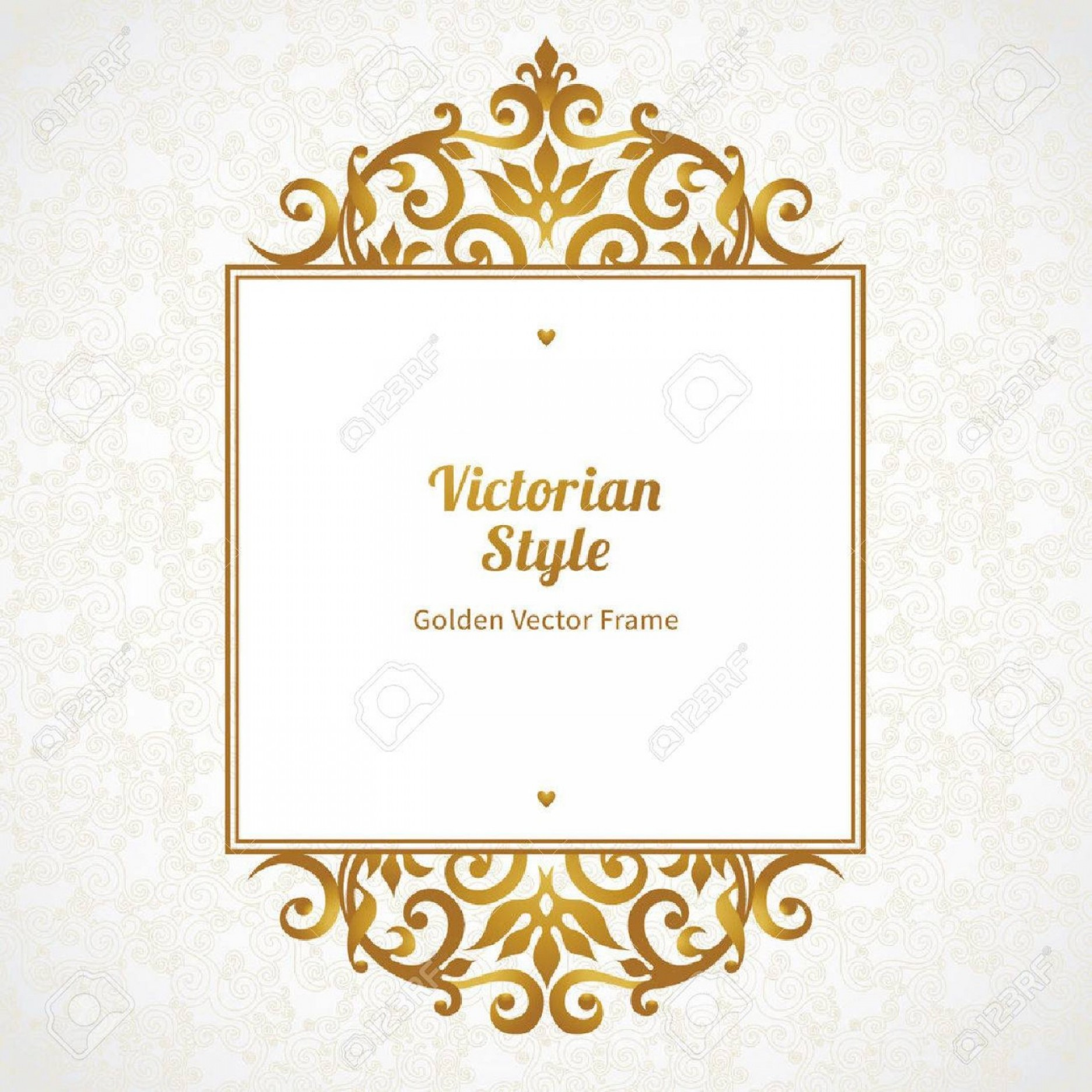 Decorative Text Vector: Photostock Vector Vector Decorative Frame In Victorian Style Elegant Element For Design Template Place For Text Golden
