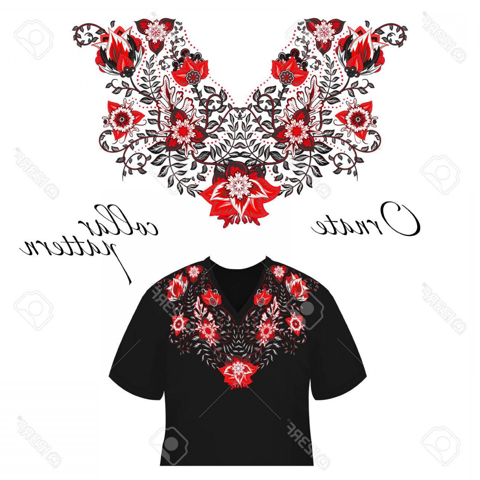 Active Border Vector: Photostock Vector Vector Design For Collar Shirts Shirts Blouses Colorful Ethnic Flowers Neck Paisley Decorative Borde