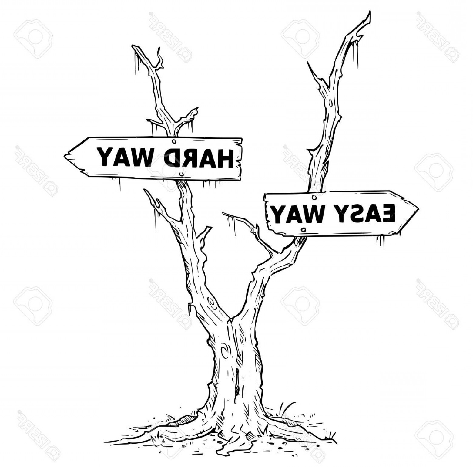 Swamp Vector Art: Photostock Vector Vector Drawing Of Dead Swamp Or Desert Tree With Easy Or Hard Way Business Decision Arrow Signs