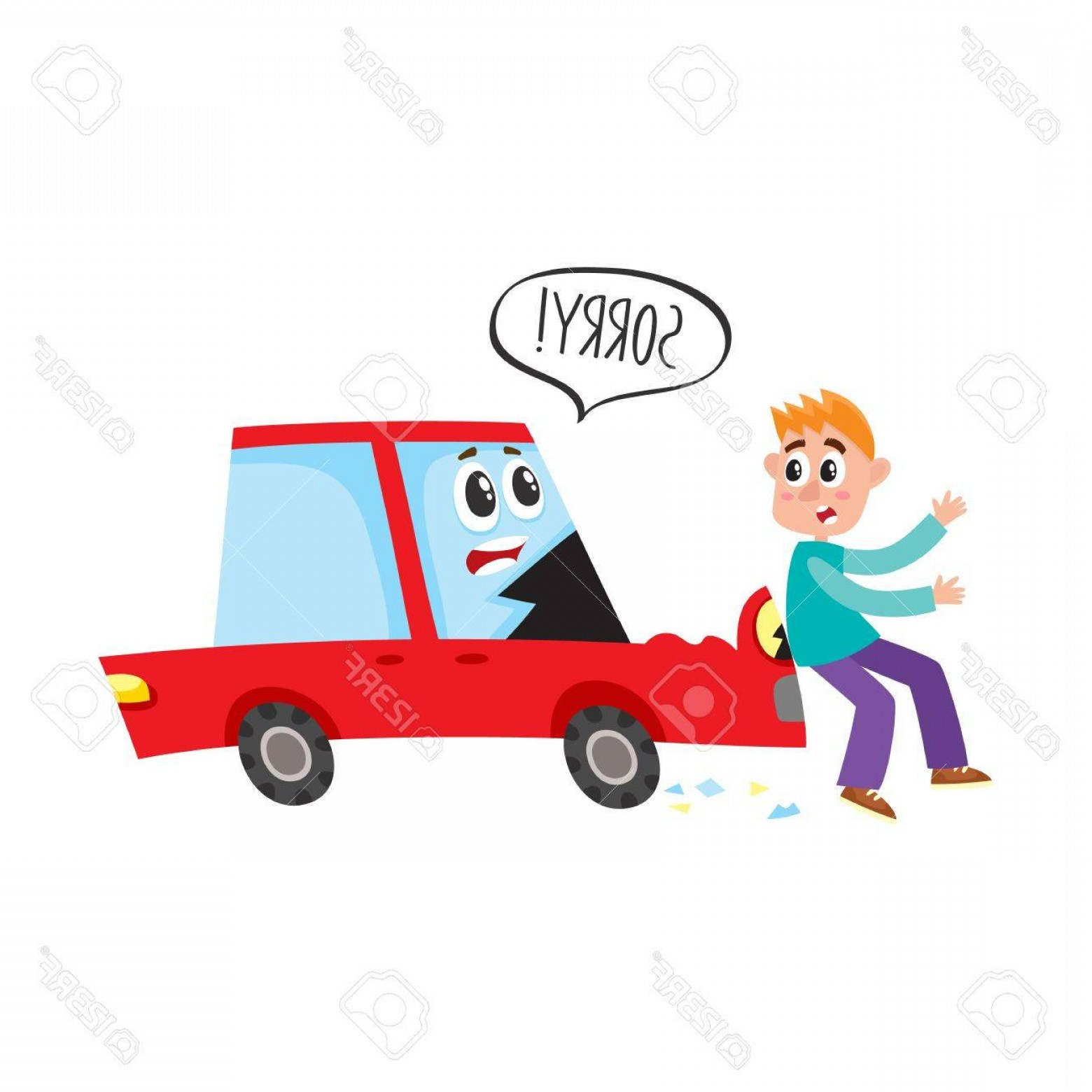 Face Side Pedestrian Vector: Photostock Vector Vector Flat Cartoon Pedestrian Accident Young Man Was Hit By Red Car Character Saying Sorry Hood Den