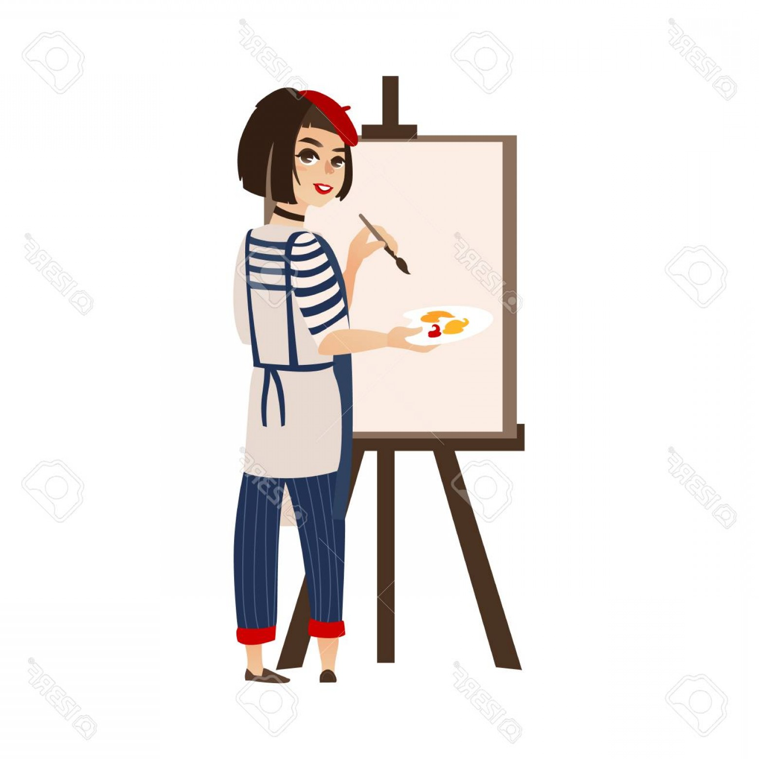 Woman Vector Toon Painter: Photostock Vector Vector Flat Cartoon Woman Artist Painter Wearing Beret Drawing On Easel Canvas French Parisian Style