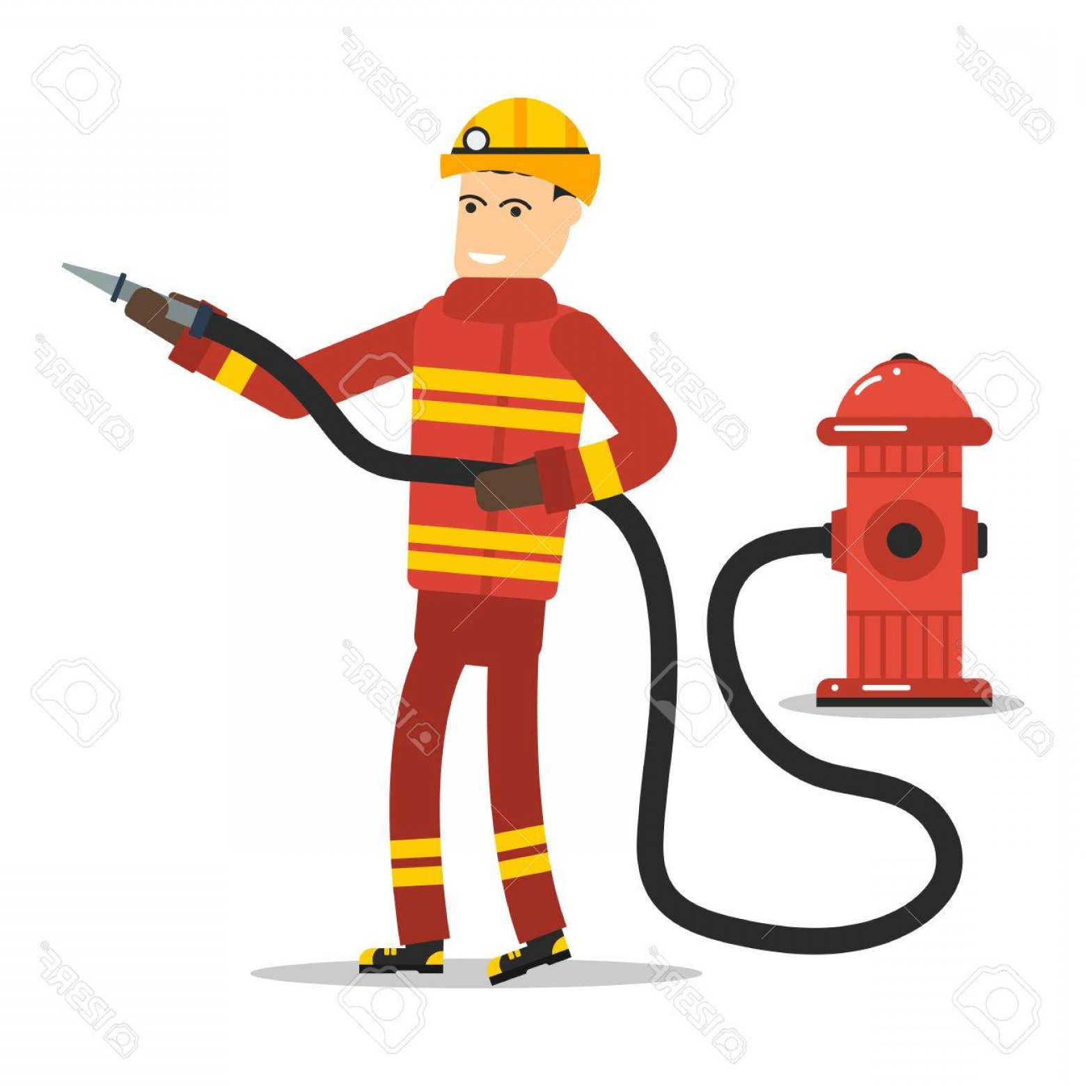 Maltese Cross Solid Vector: Photostock Vector Vector Flat Character Firefighter With A Hose And Hydrant