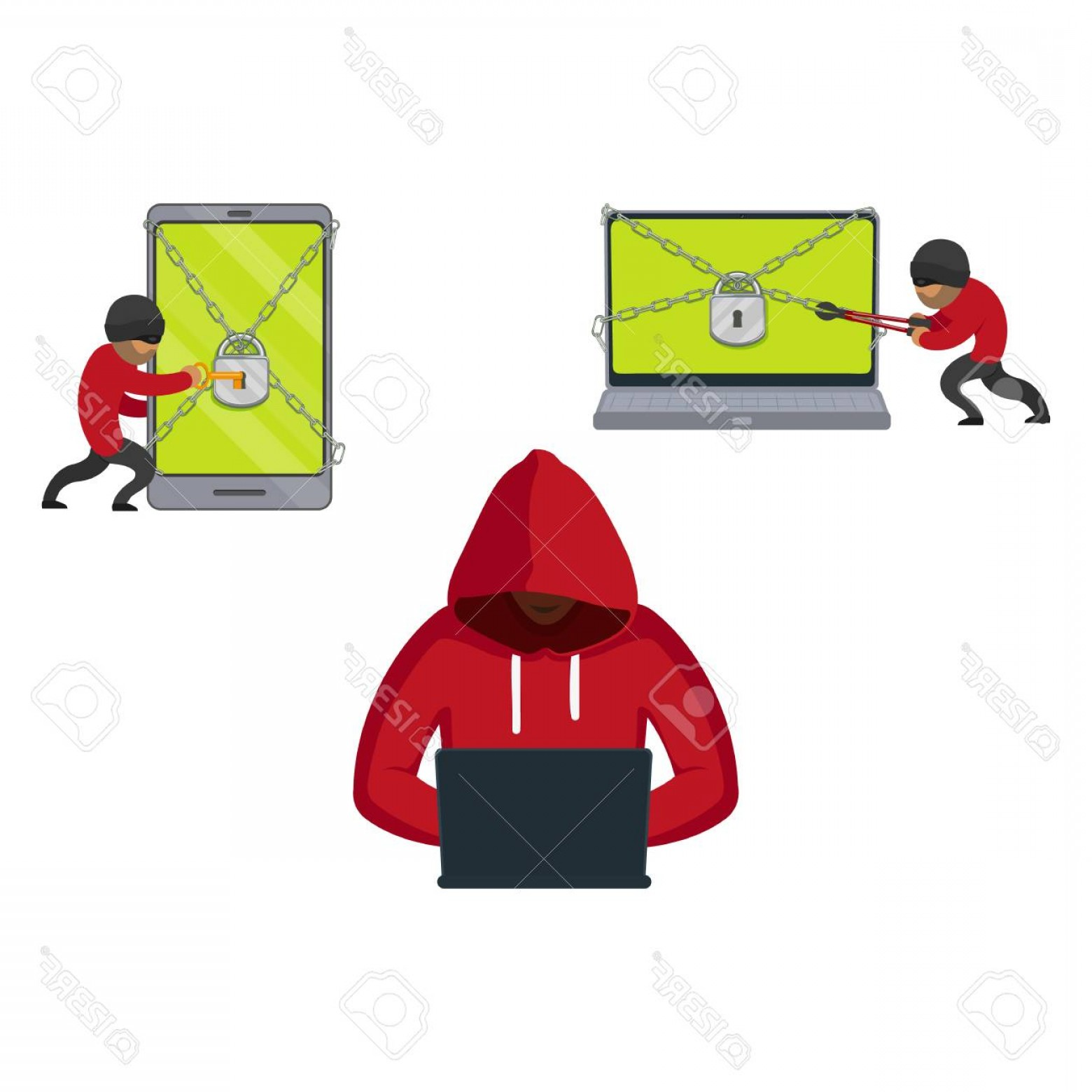 Chain And Lock Glove Vector: Photostock Vector Vector Flat Cyber Theft Set Man Sitting In Front Of Laptop Hacking Security System Bandit Hacking Sm