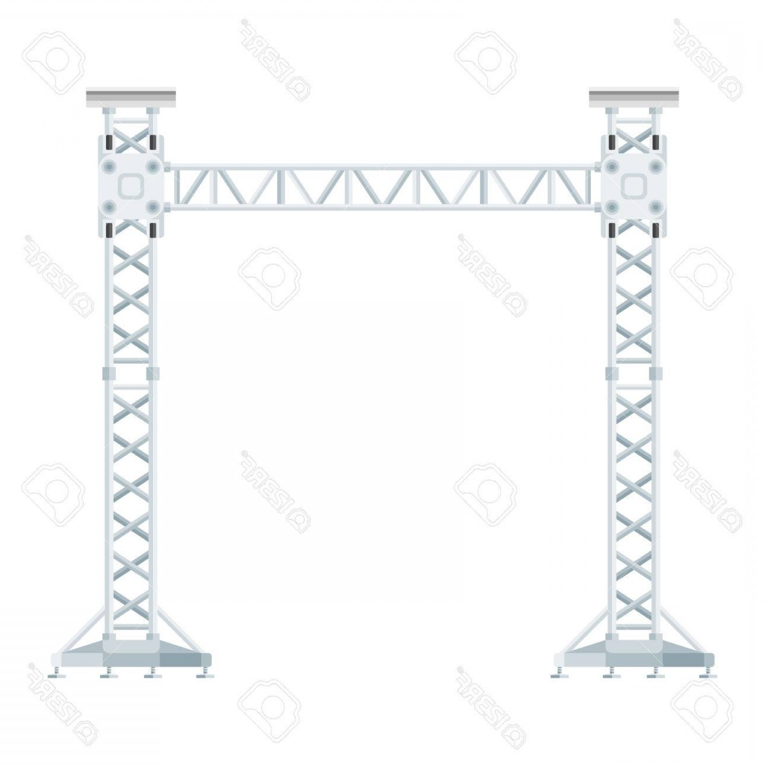 Aluminum Truss Design Vector: Photostock Vector Vector Flat Design Stage Sound Lighting Aluminum Truss Tower Lift Construction Illustration