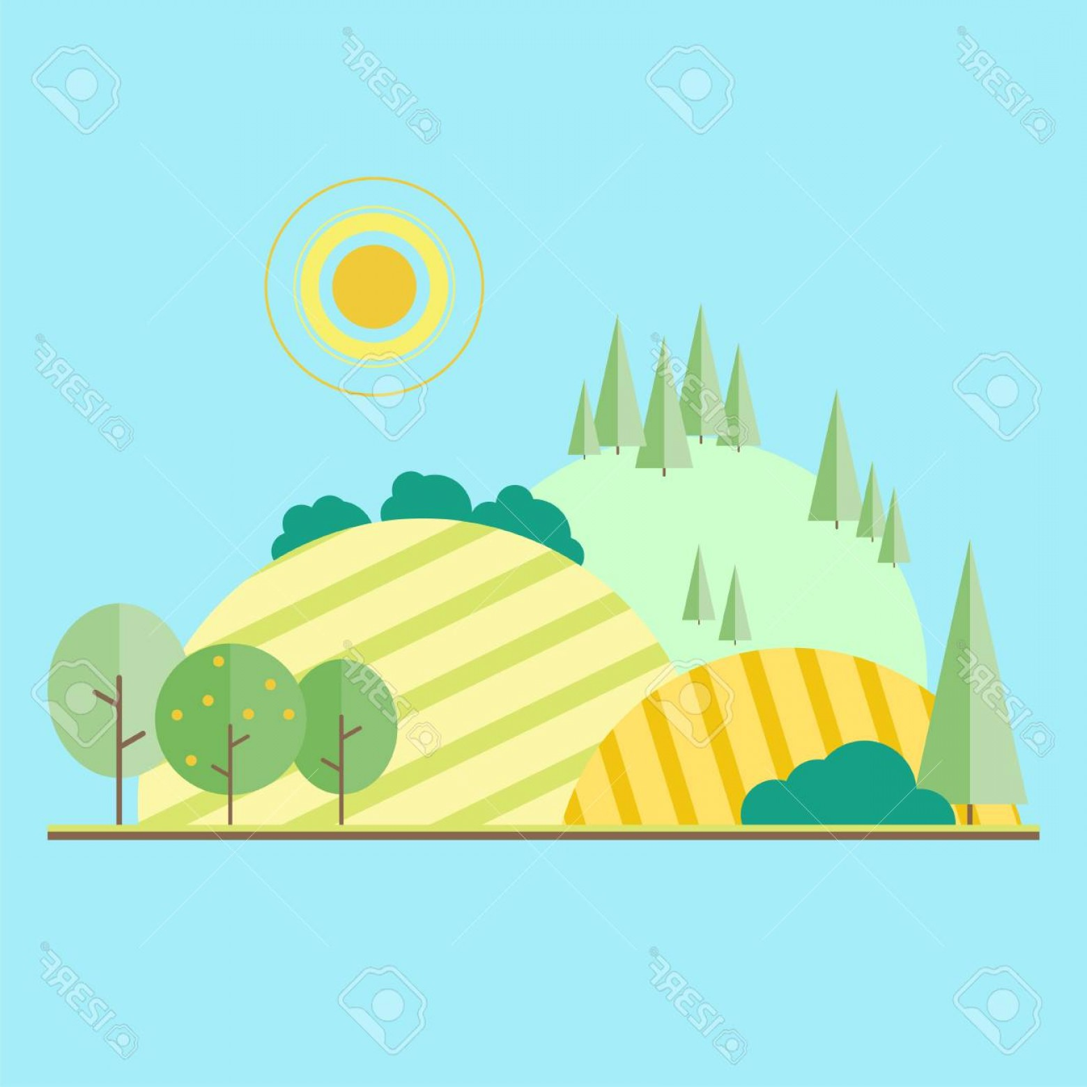 Flat Vector Art And Abstract Forest: Photostock Vector Vector Flat Illustrations Eco Style Life Abstract Forest Fruit Trees And Field