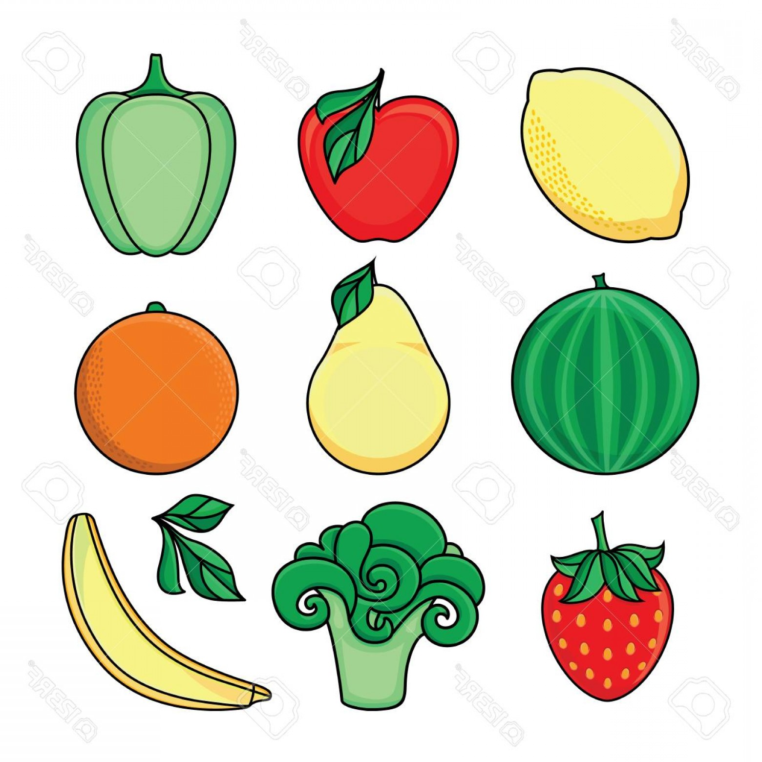 Vector Fruit Vegetable: Photostock Vector Vector Flat Sketch Style Fresh Ripe Fruits Vegetables Set Apple Lime Bellpepper Apple Watermelon Pea