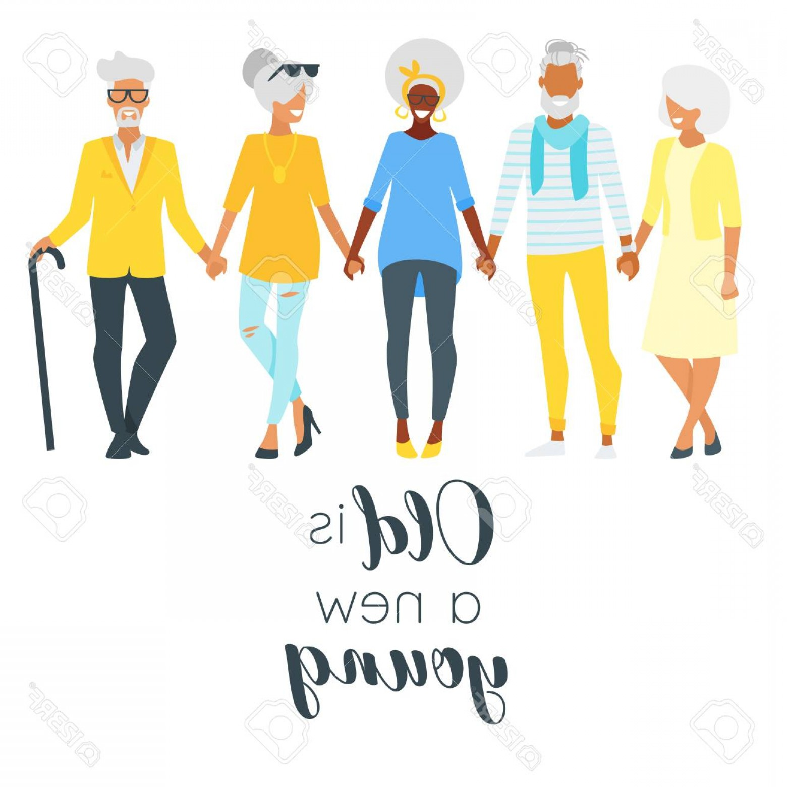 Happy Elderly Vector: Photostock Vector Vector Flat Style Illustration Of Happy Elderly Senior Man And Woman Standing In A Row Holding Hands