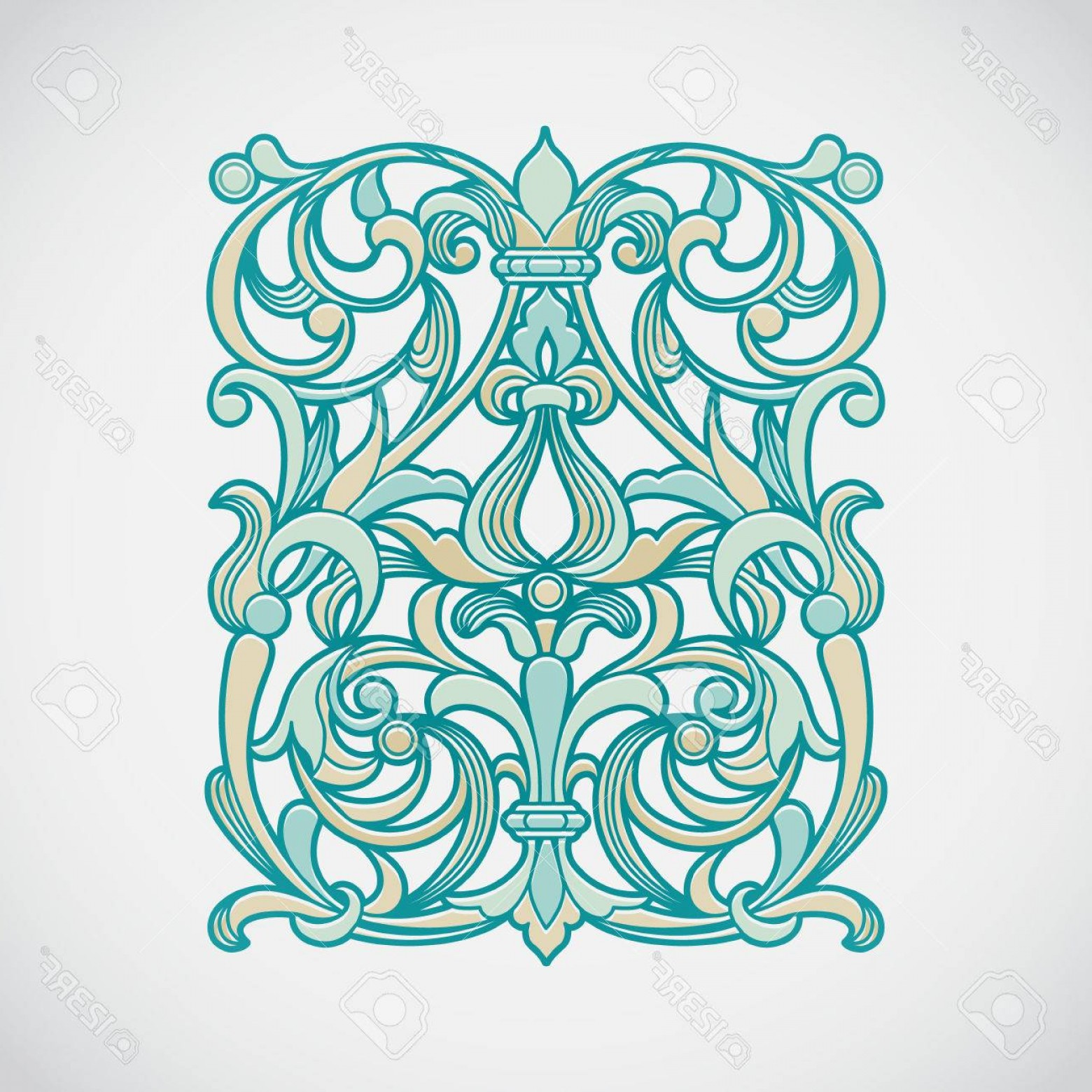 Aqua Victorian Vectors: Photostock Vector Vector Floral Pattern In Victorian Style On Scroll Work Background Ornate Element For Design Ornamen