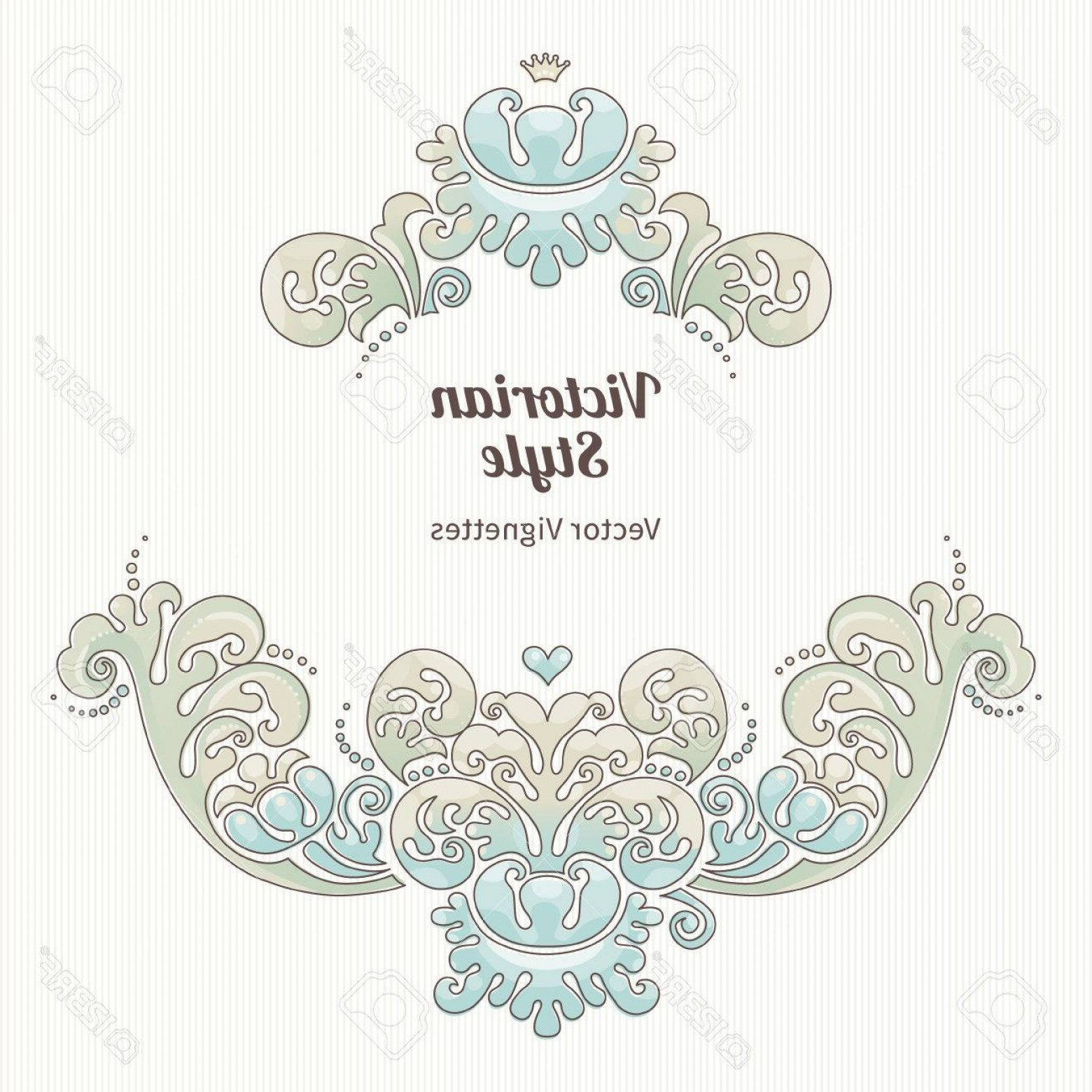Aqua Victorian Vectors: Photostock Vector Vector Floral Vignette In Victorian Style Ornate Element For Design Place For Text Ornament For Wedd