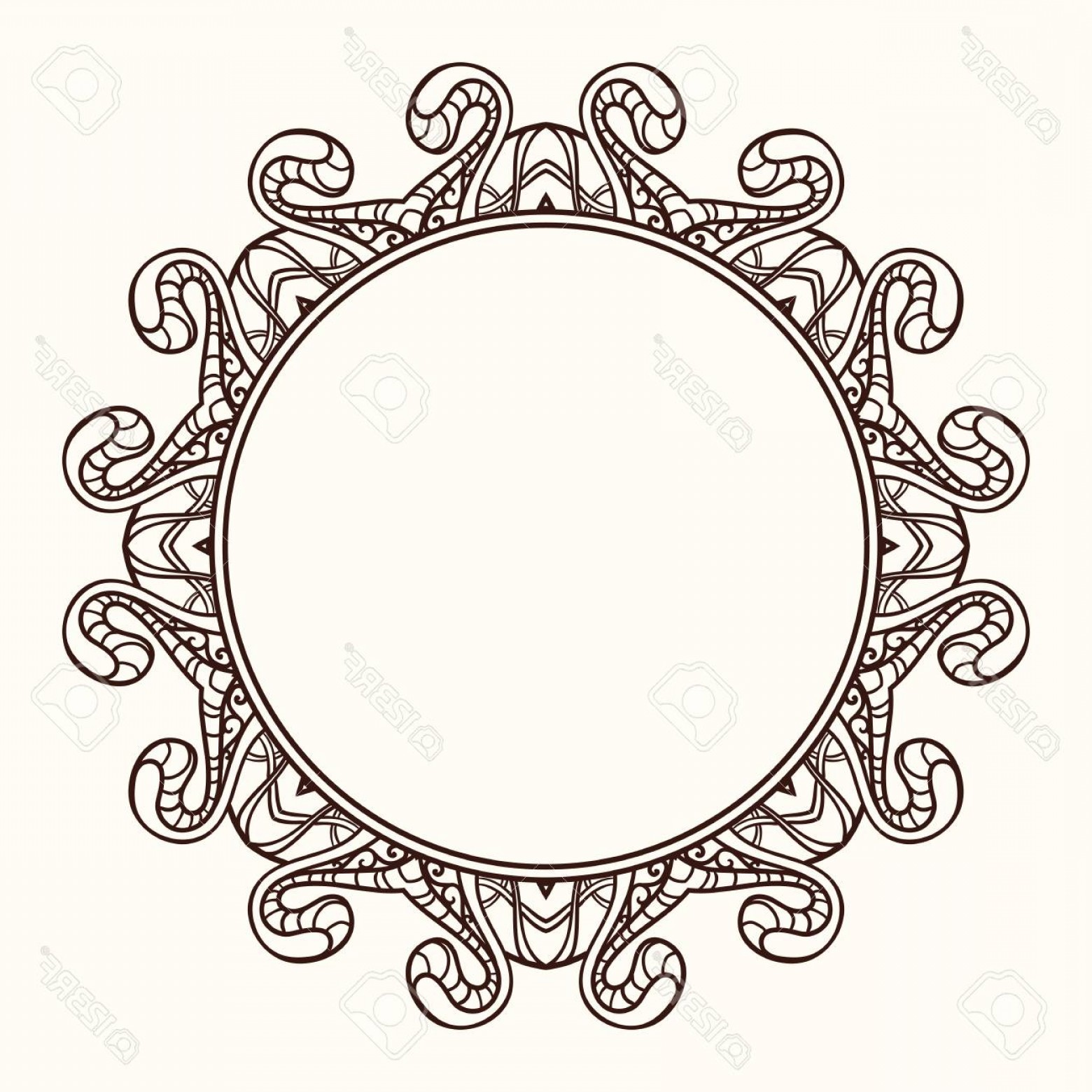 Vector Ornate Shaped Frame: Photostock Vector Vector Frame In Shape Of A Circle Ornate Element For Design Vintage Round Frame Vector Linear Orname