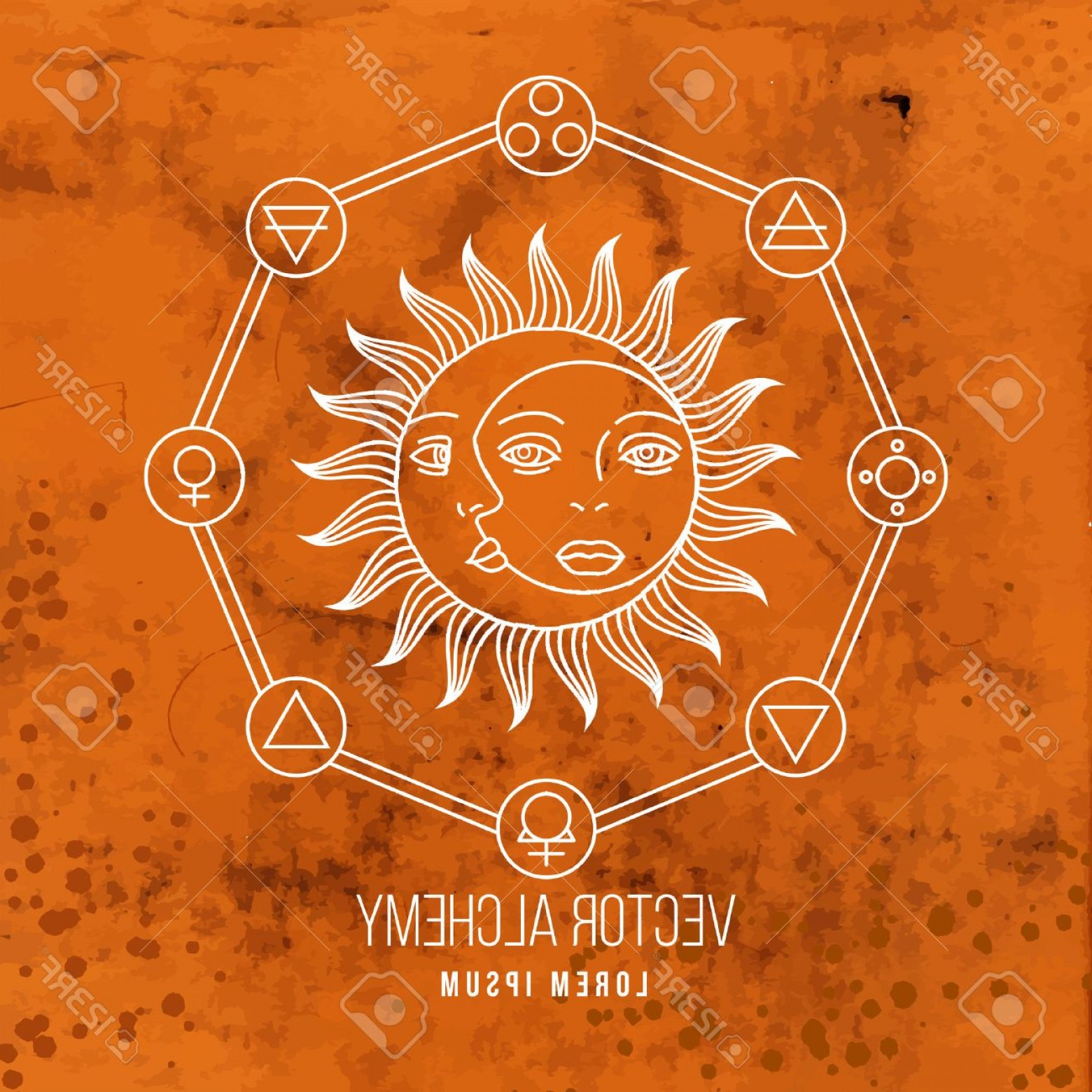 Geometric Sun Vector: Photostock Vector Vector Geometric Alchemy Symbol With Sun Moon Shapes And Abstract Occult And Mystic Signs Linear Log