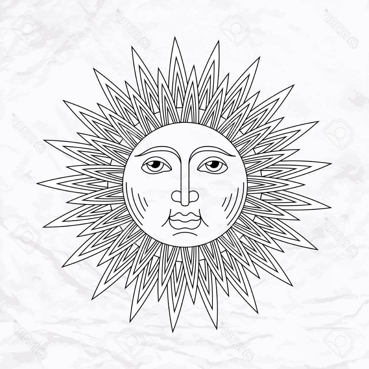 Geometric Sun Vector: Photostock Vector Vector Geometric Illustration Of Medieval Sun Alchemy Symbol With Eyes And Face Abstract Occult And