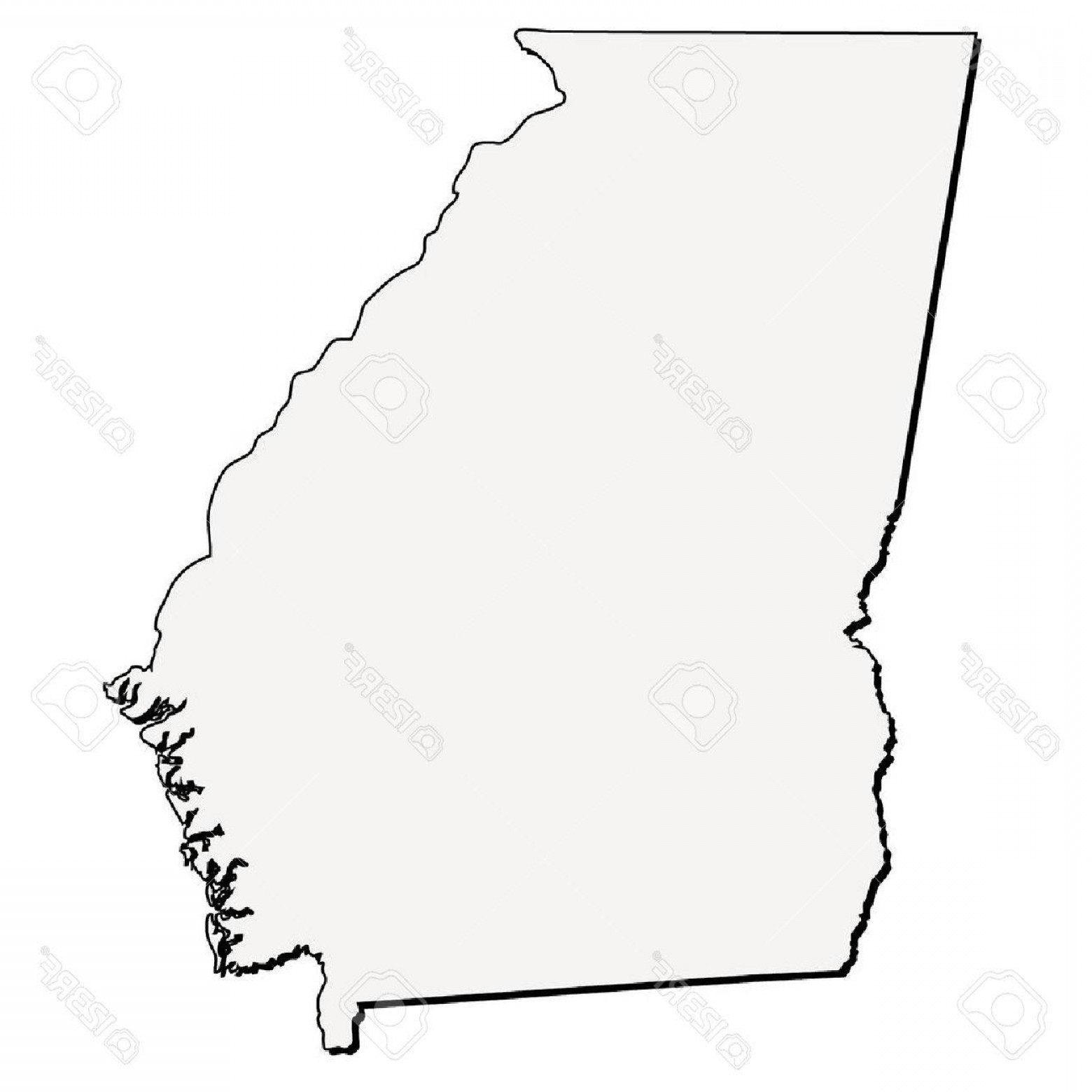 Arizona State Outline Vector: Photostock Vector Vector Georgia State D Outline Map