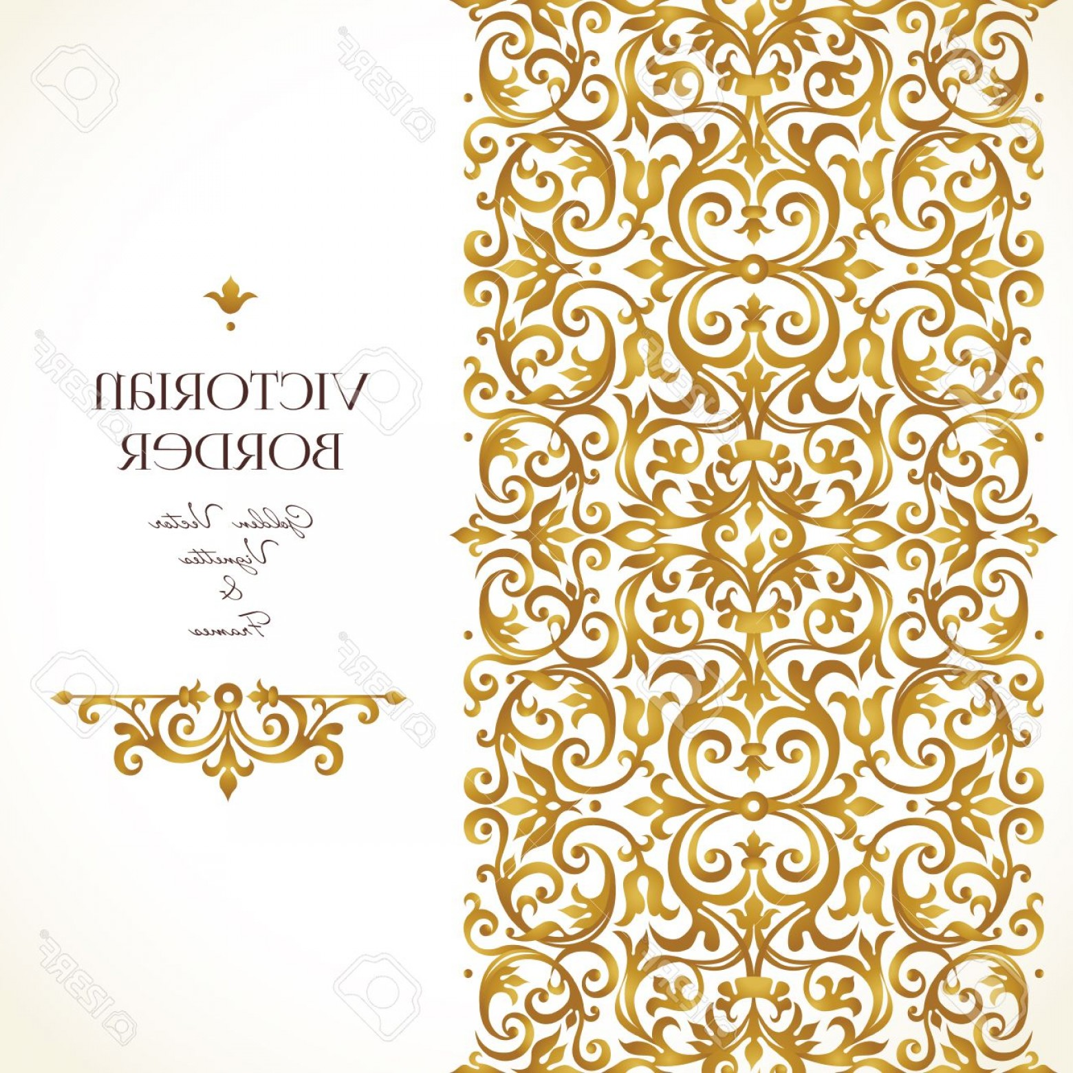 Victorian Style Frame Vector: Photostock Vector Vector Golden Border For Design Template Element In Victorian Style Luxury Floral Frame Frieze And V