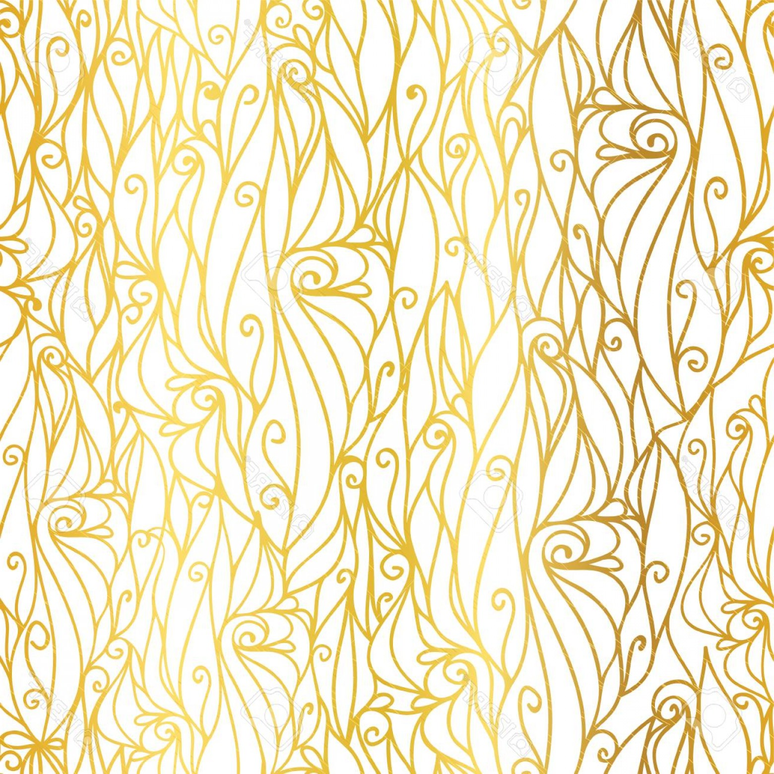 Gold Wedding Swirl Vector: Photostock Vector Vector Golden White Abstract Scrolls Swirls Seamless Pattern Background Great For Elegant Gold Textu