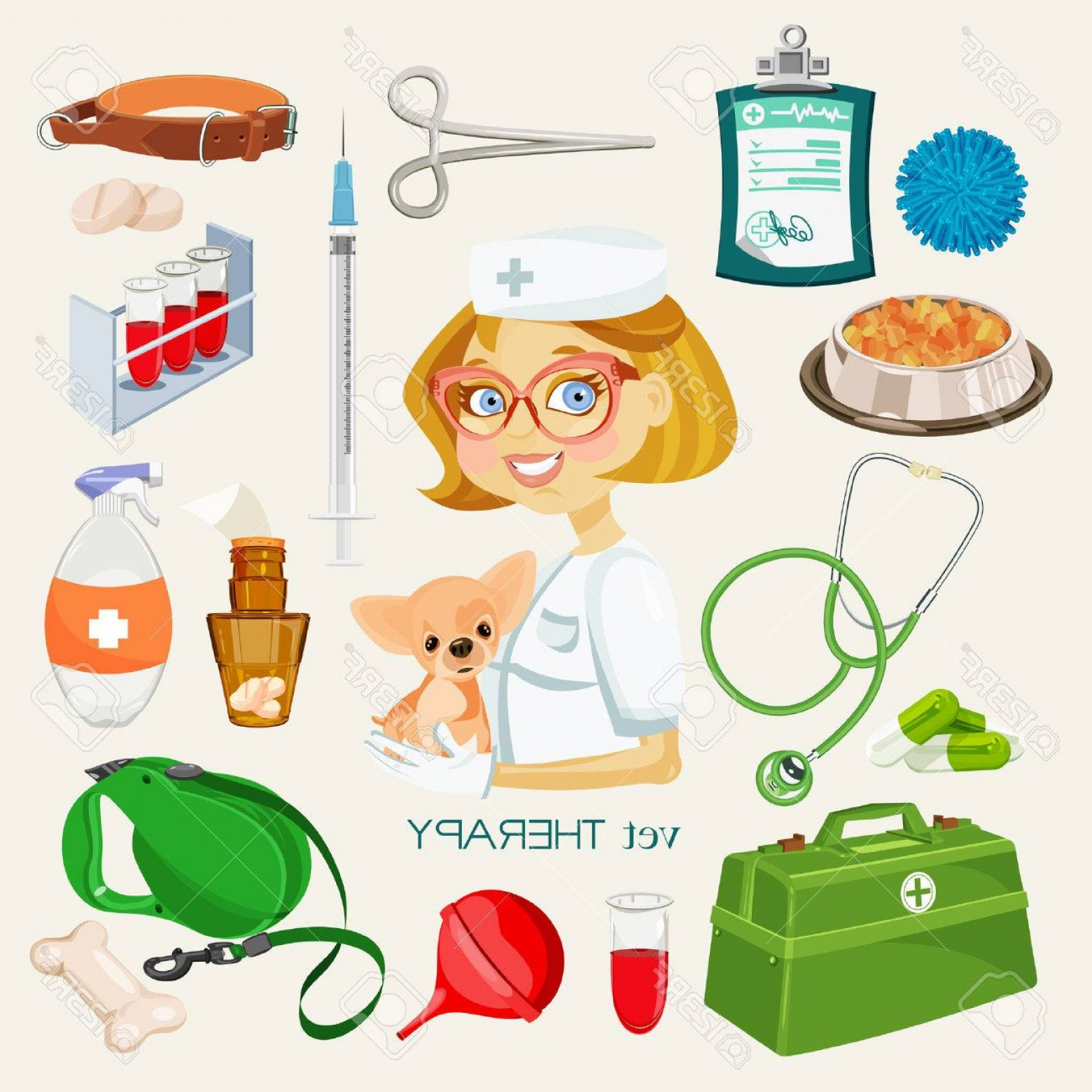 Supplies Vector Graphic: Photostock Vector Vector Graphic Icon Set Of Vet And Pet Supplies