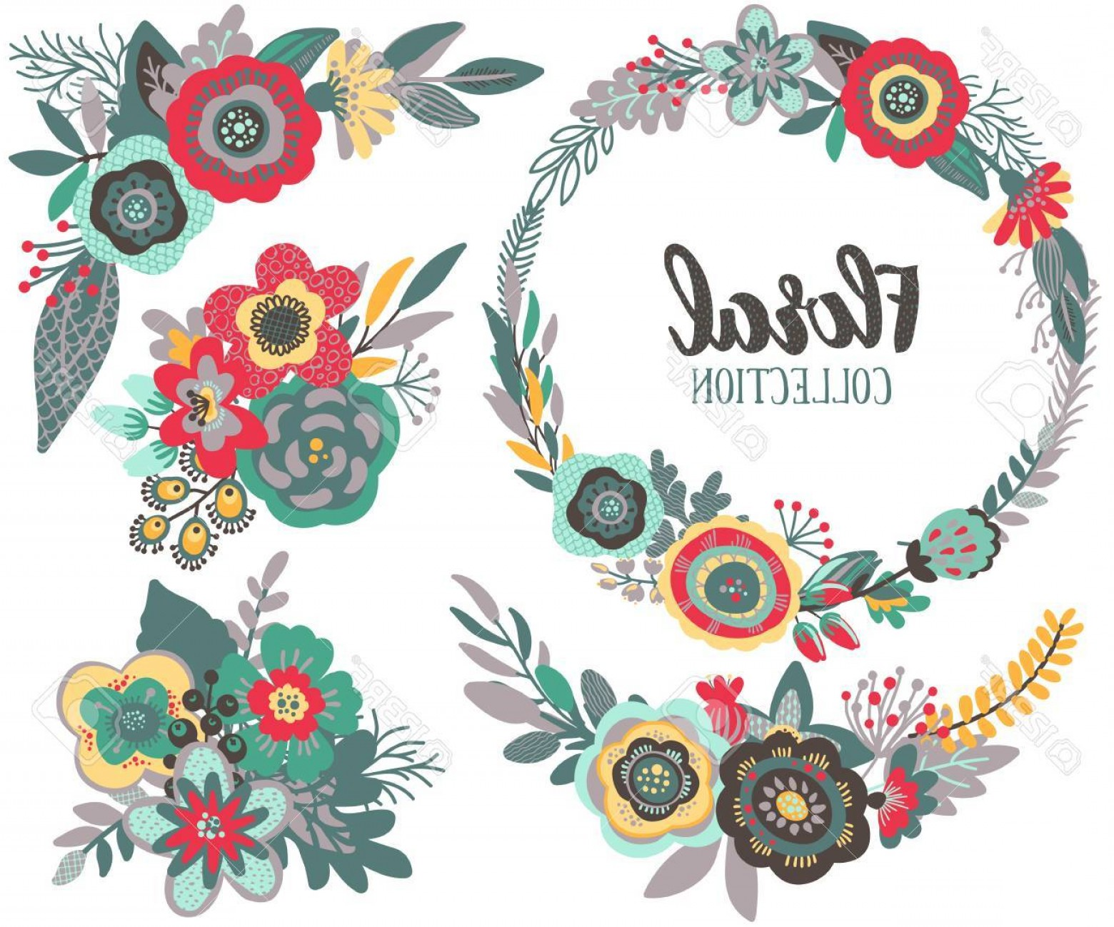 Beautiful Flowers Vector Graphic: Photostock Vector Vector Graphic Set With Beautiful Flowers Floral Wreath Bouquets Colorful Collection For Greeting Sa