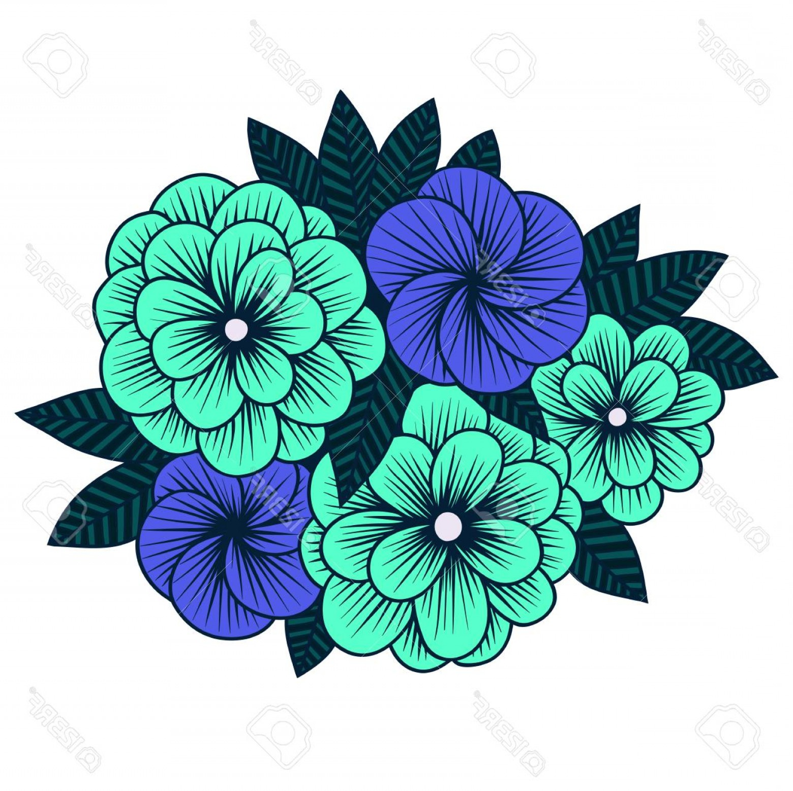 Hydrangea Vector Graphics: Photostock Vector Vector Graphics Handmade Botanical Illustration Hydrangea Flowers Isolated Object