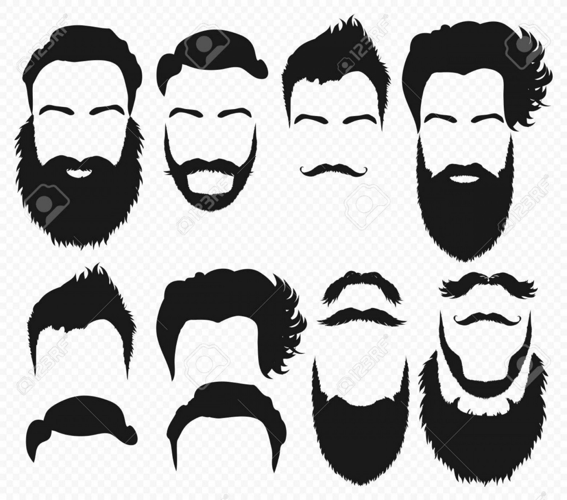 Vector Constructor: Photostock Vector Vector Hair And Beard Shapes Design Constructor With Men Vector Silhouette Fashion Silhouette Black