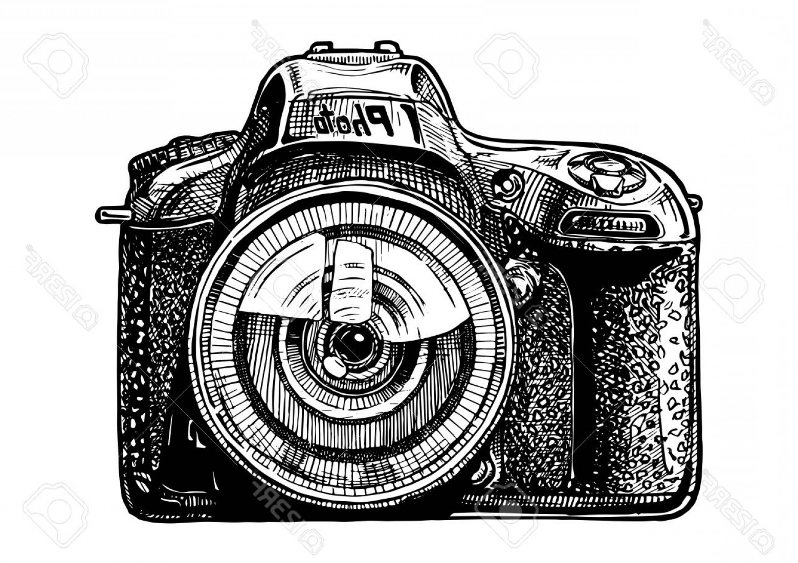 SLR Camera Vector: Photostock Vector Vector Hand Drawn Sketch Of Slr Photo Camera In Vintage Engraved Style On White Background