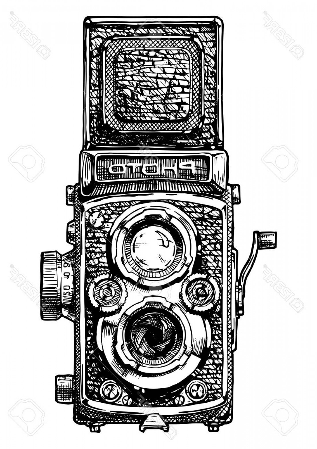 SLR Camera Vector: Photostock Vector Vector Hand Drawn Sketch Of Twin Lens Reflex Camera In Vintage Engraved Style On White Background
