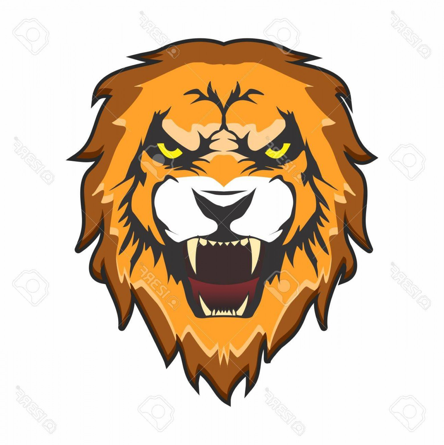 Malee Cat Head Silhouette Vector: Photostock Vector Vector Head Of Aggressive Male Lion With Open Mouth And Tooth