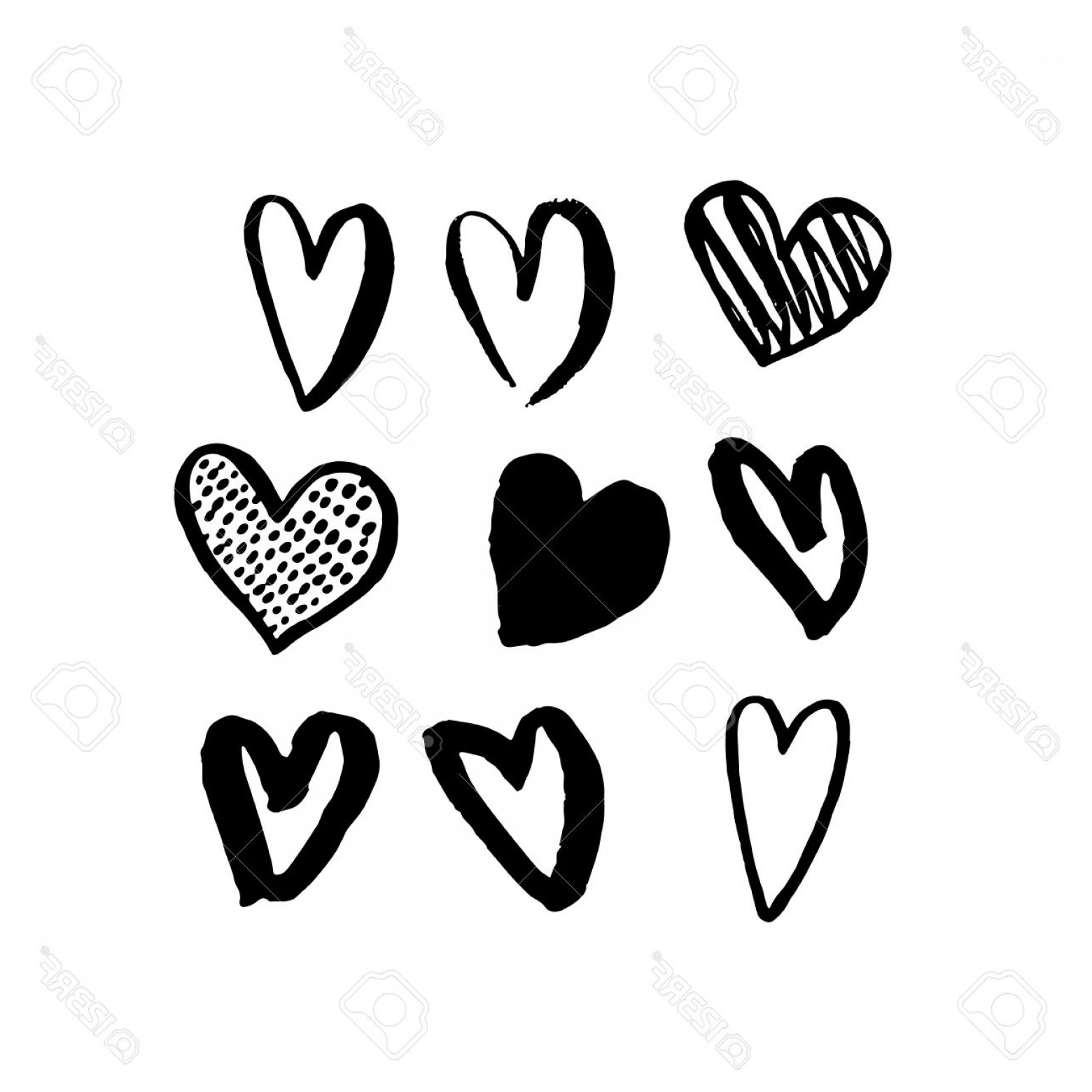 Heart In Hand Vector Clip Art: Photostock Vector Vector Heart Icons Hand Drawn Art Design For Saint Valentine Day Isolated Hearts Set Pattern Love Sk