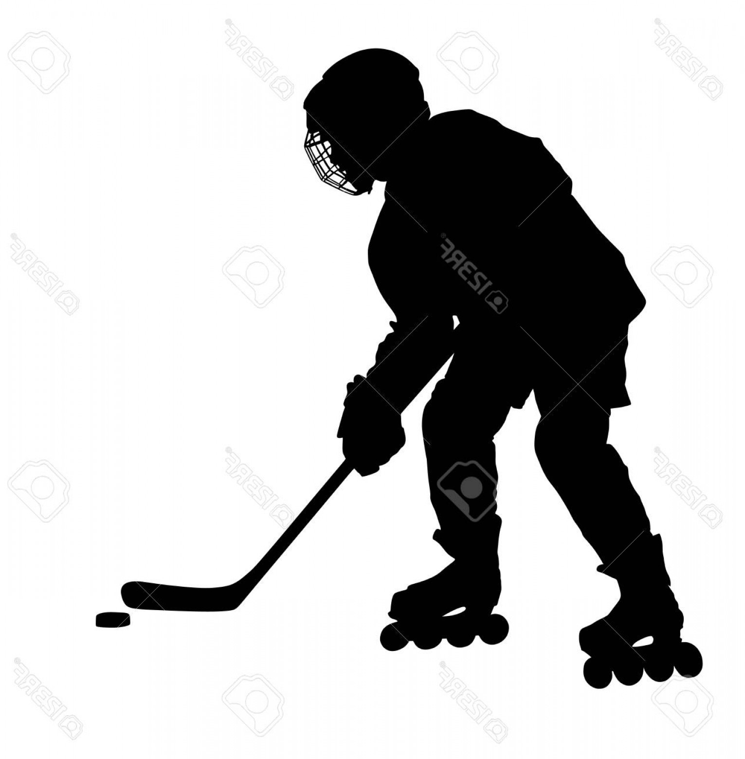 Hockey Player Silhouette Vector: Photostock Vector Vector Hockey Player Silhouette With Stick And A Washer Shoots The Puck And Attacks Vector Skating O