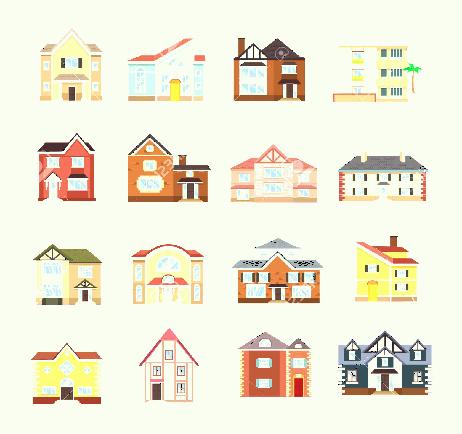 Flat Vector House: Photostock Vector Vector House Flat Icon Set