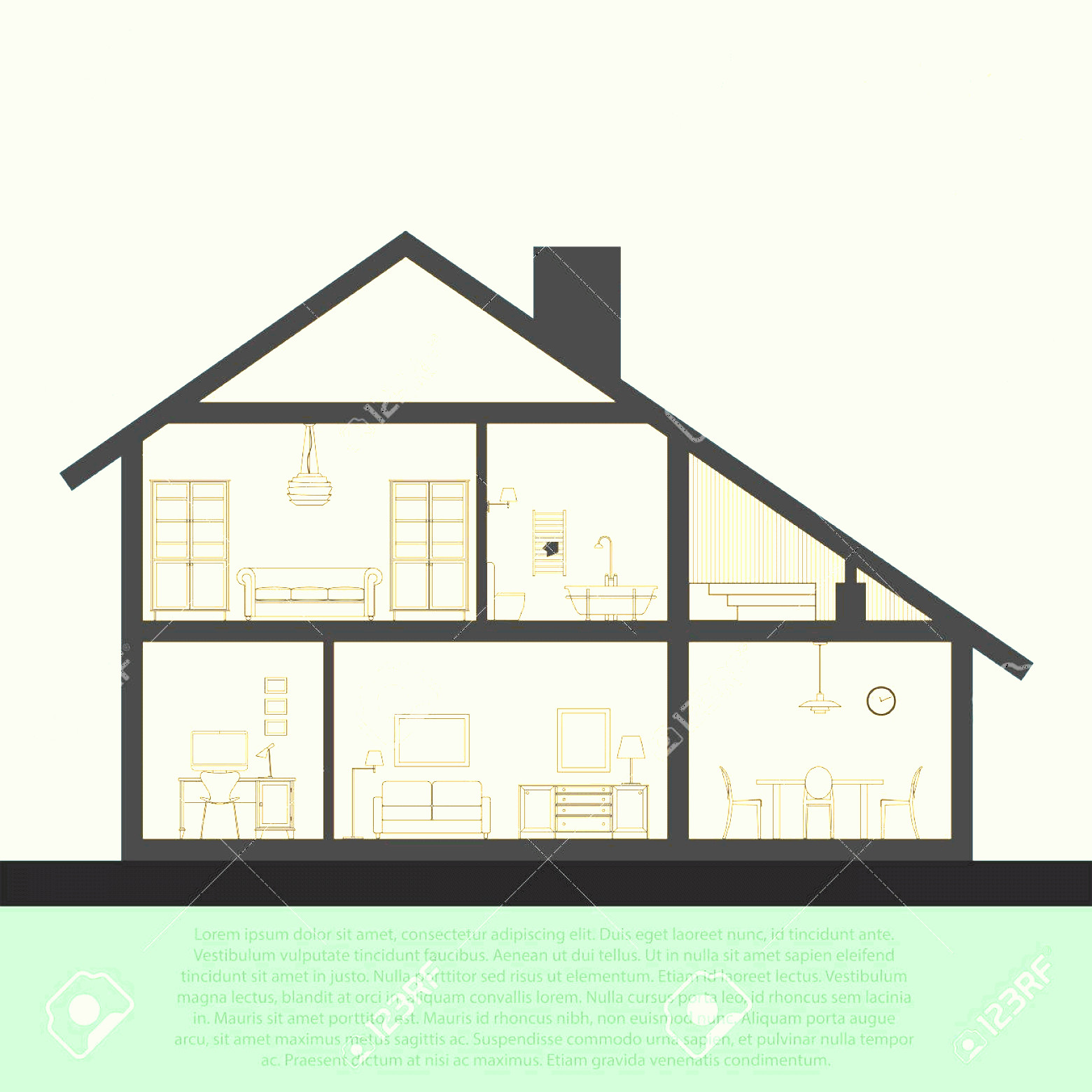 Flat Vector House: Photostock Vector Vector House Interior In Cut Detailed Plan Cross Sectional View Room And Bath Kitchen Flat Style Vec