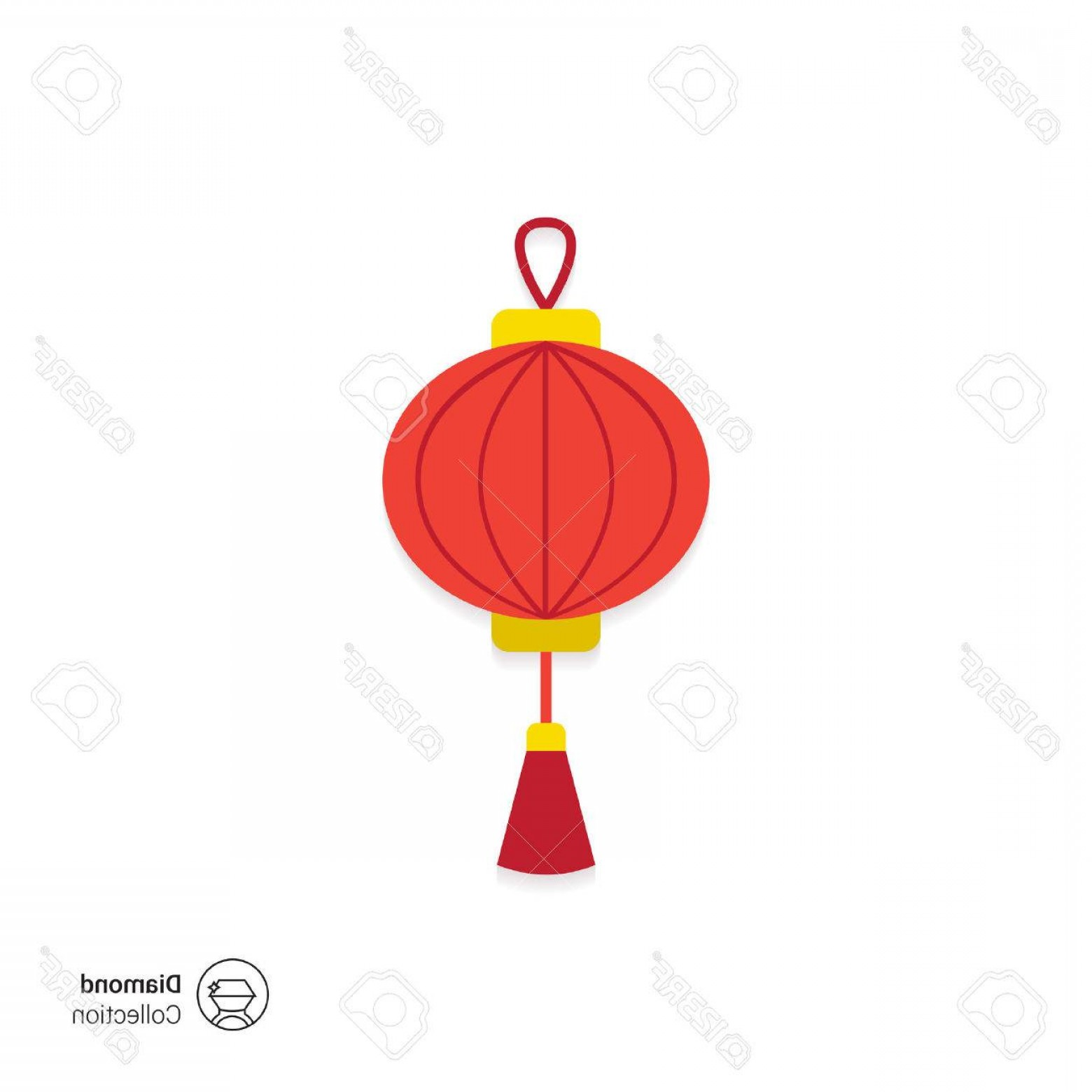Tassel Vector: Photostock Vector Vector Icon Of Red Chinese Lantern With Tassel
