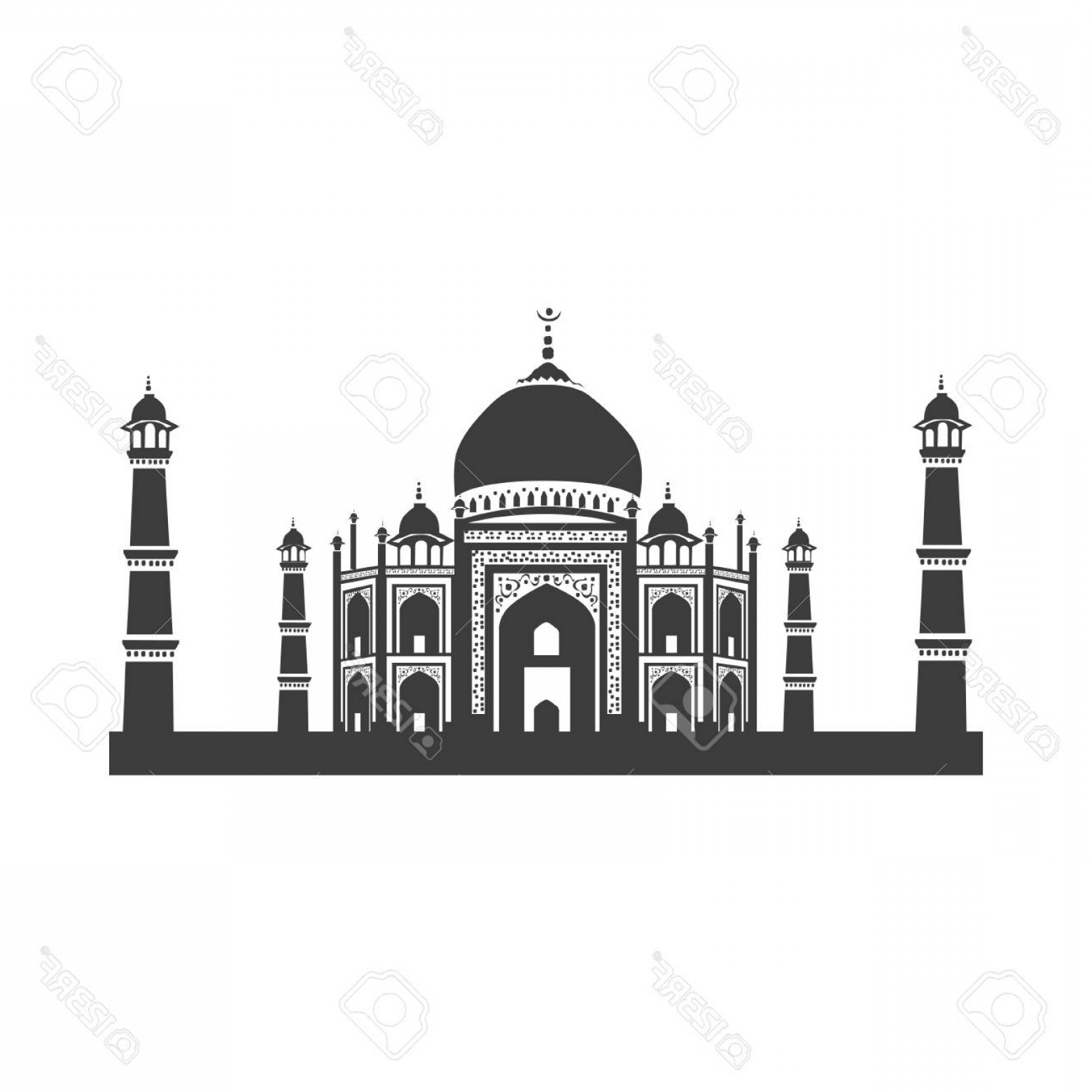 Taj Mahal Vector: Photostock Vector Vector Icon Taj Mahal Vector Illustration On White Background