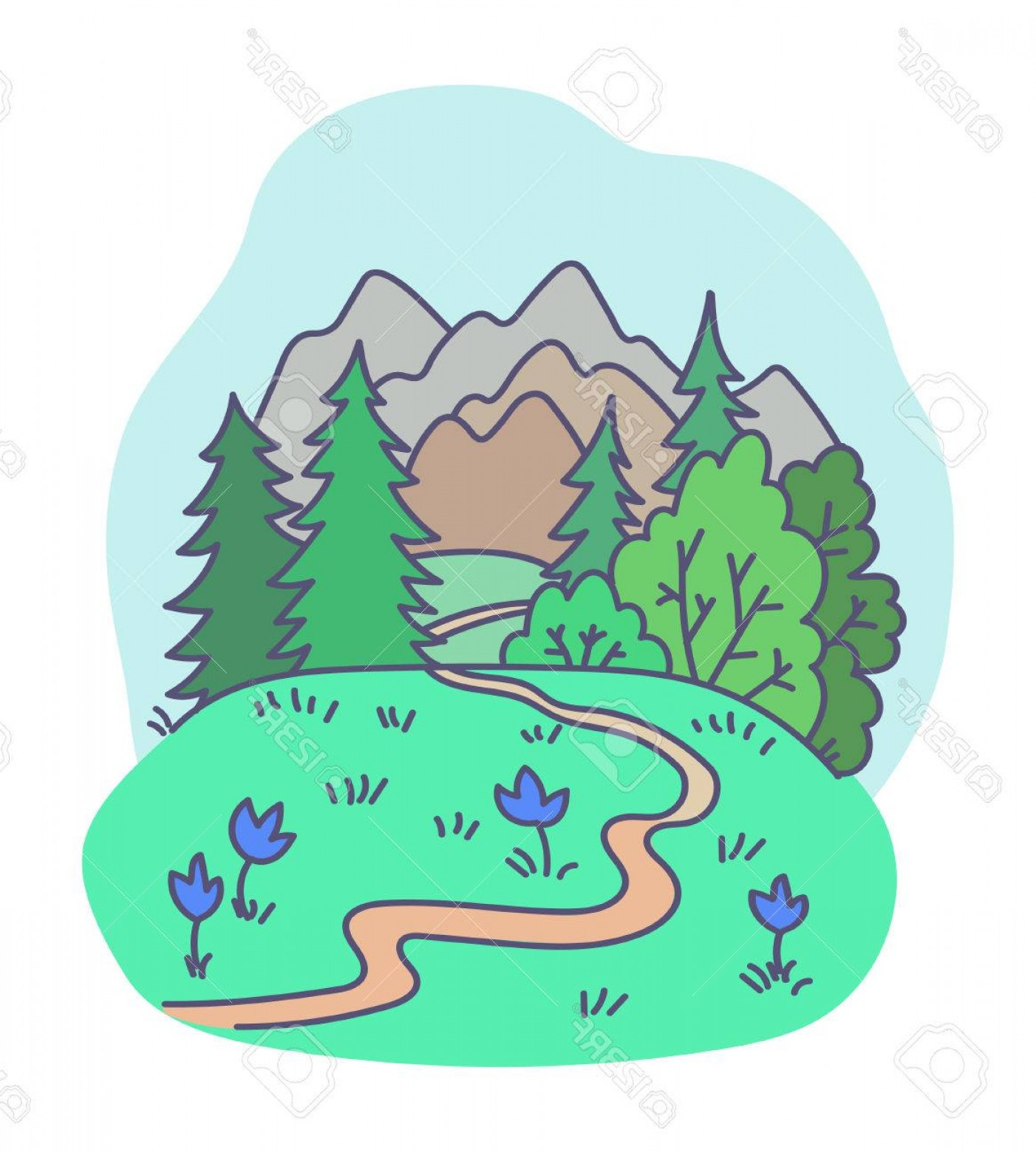 Mountain Trail Vector: Photostock Vector Vector Illustration Abstract Nature Forest Trail Mountains Travel Garden Holiday Flowers Design Elem