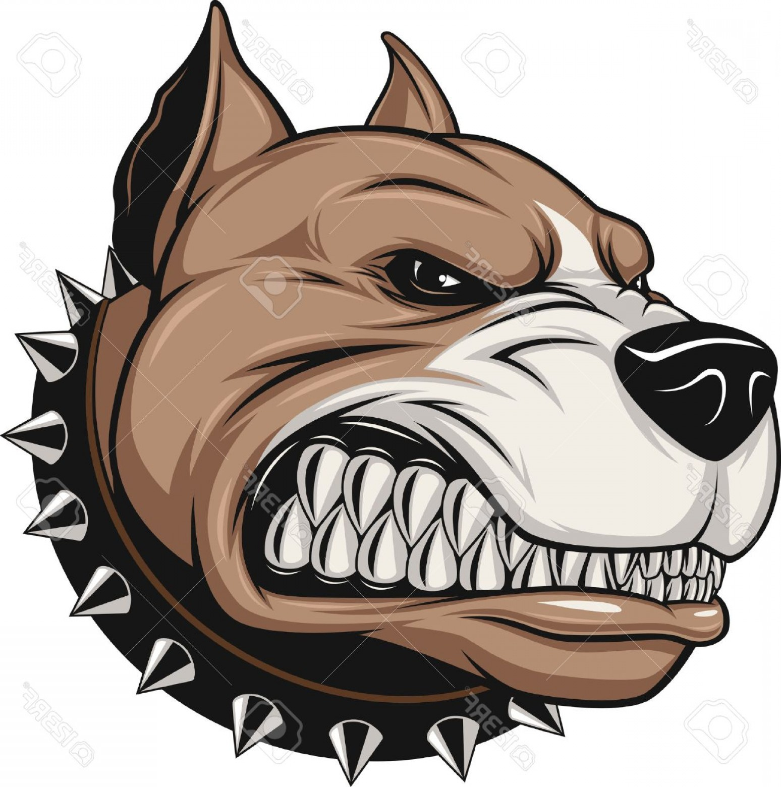 Dog Mascot Vector: Photostock Vector Vector Illustration Angry Pitbull Mascot Head On A White Background