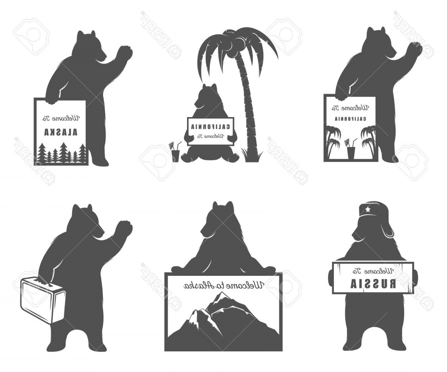 California Black And White Vector: Photostock Vector Vector Illustration Bear With Sign Welcome To California Russia And Travel On A White Background Bea