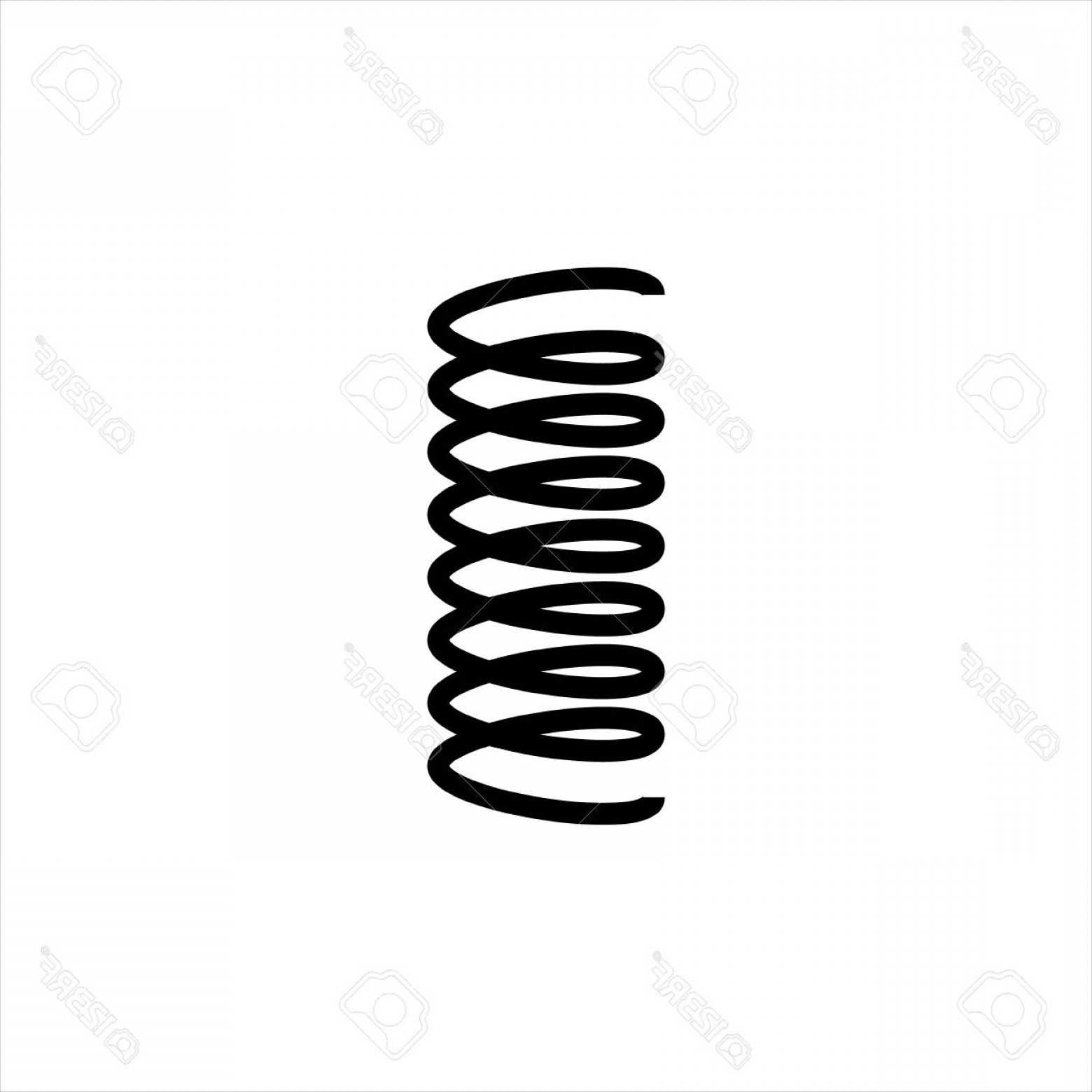 Spring Vector Silhouette: Photostock Vector Vector Illustration Black Silhouette Of Spring Icon Isolated On White Background Metal Spiral Flexib