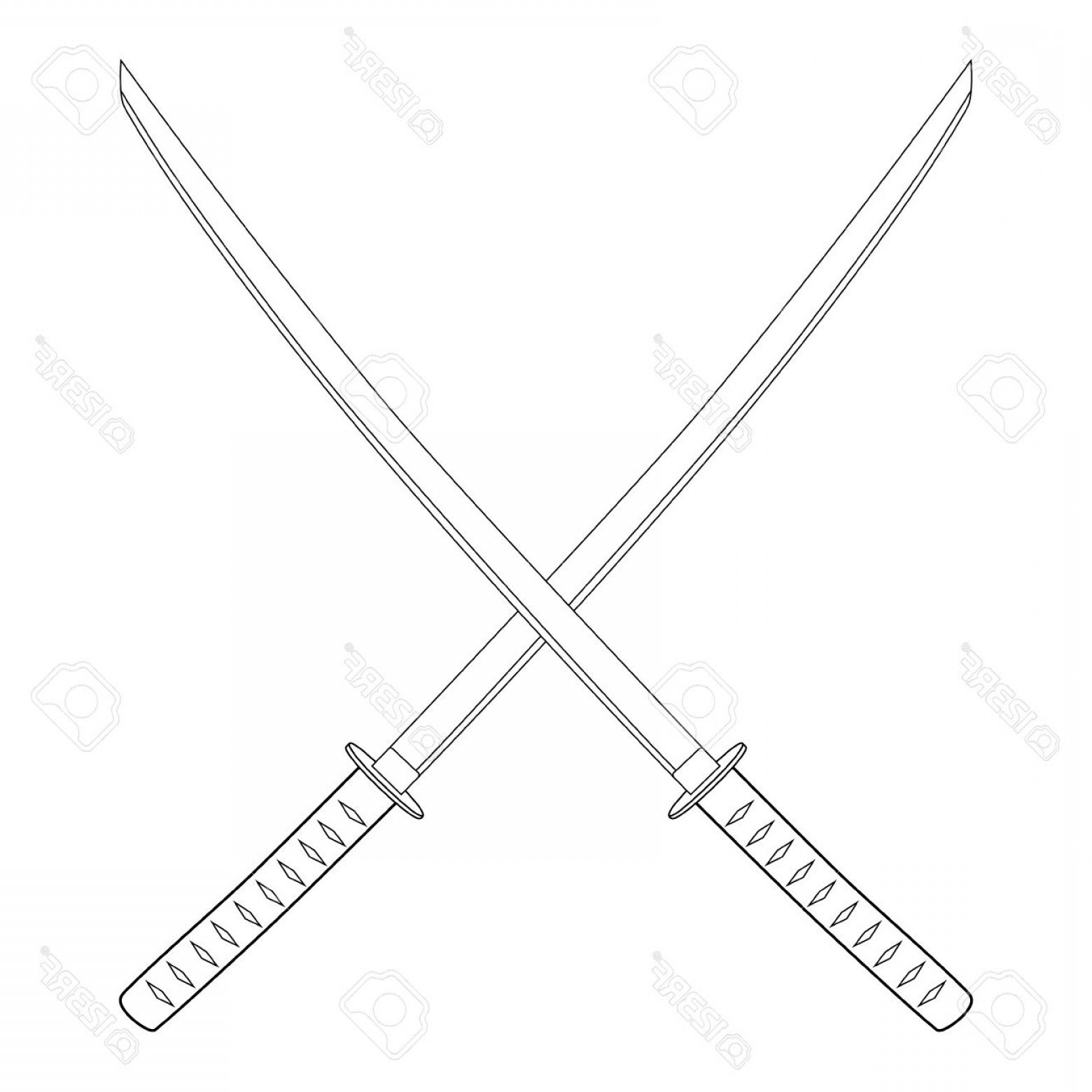 Samuri Sword Vector: Photostock Vector Vector Illustration Crossed Japanese Katana Swords Outline Drawing Samurai Sword Traditional Weapon