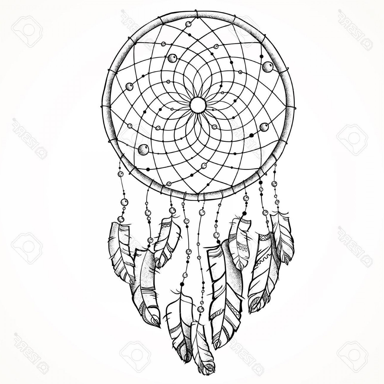 Dreamcatcher Tattoo Vector: Photostock Vector Vector Illustration Ethnic Totem Wolf And Dreamcatcher Doodle Tattoo