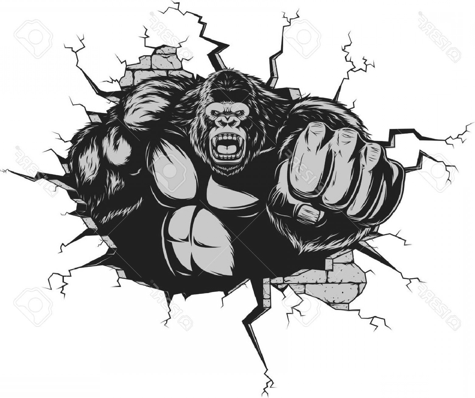 Drawings Of King Kong Vector: Photostock Vector Vector Illustration Ferocious Gorilla Hit The Wall With His Fist