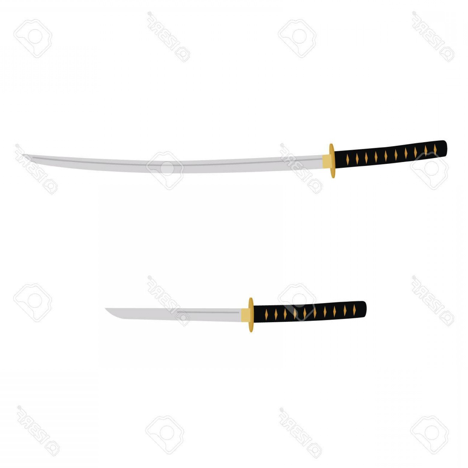 Samuri Sword Vector: Photostock Vector Vector Illustration Japanese Katana And Tanto Sword Samurai Sword Traditional Weapon