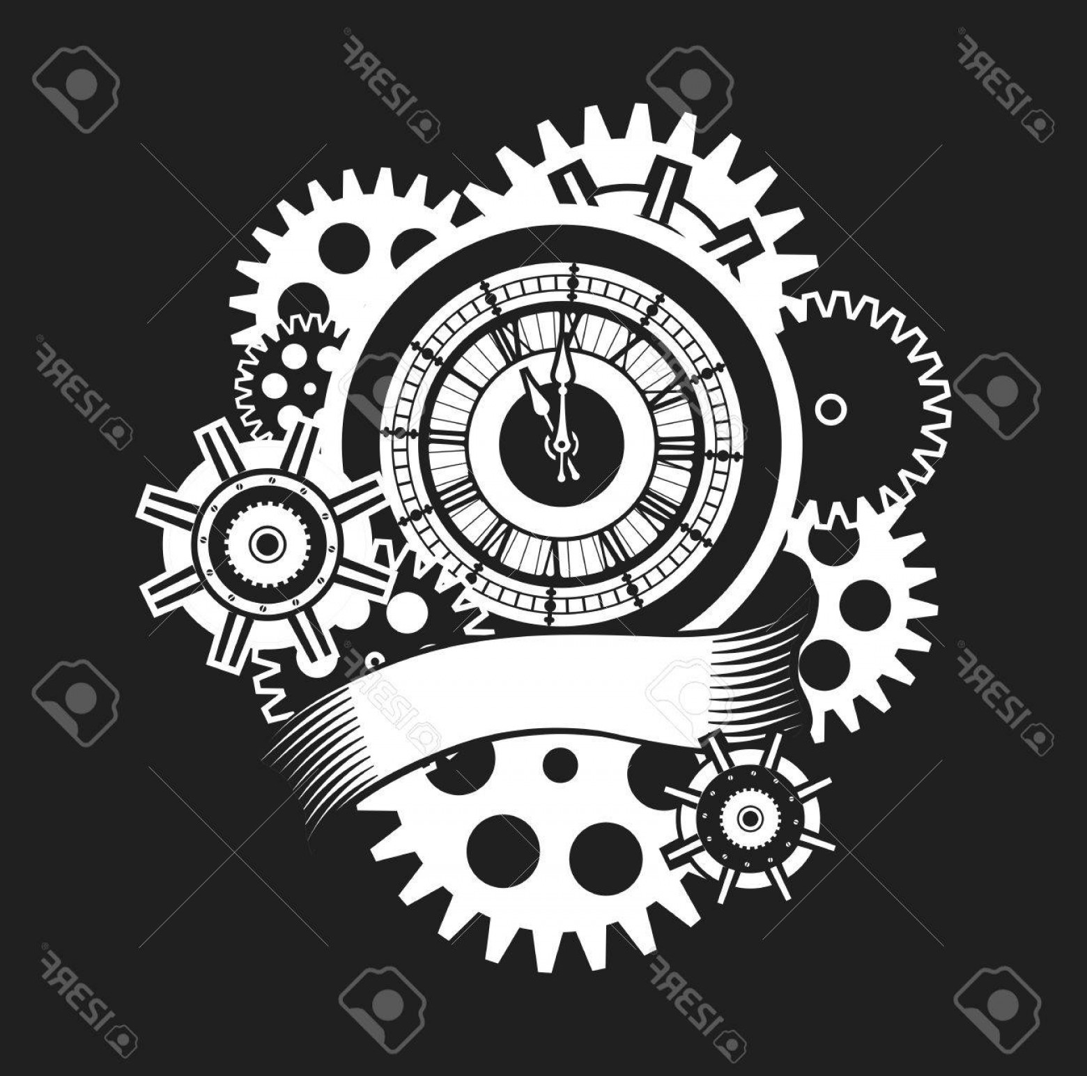 Vector Mechanical Clock Wheels: Photostock Vector Vector Illustration Of A Clock Face Surrounded By Mechanical Parts And Wrap Holiday Banner Black And