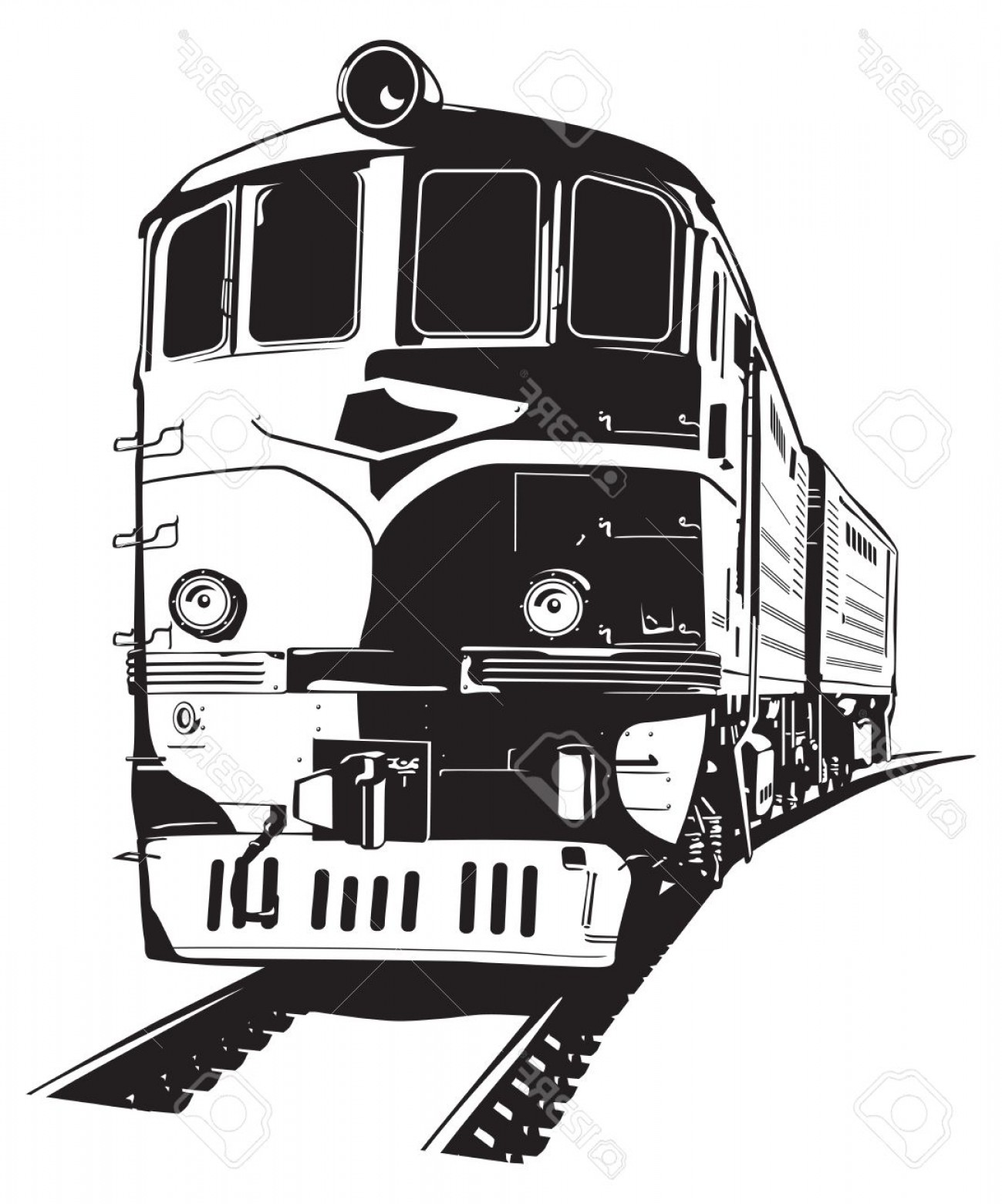 Car Vector Front Elevation: Photostock Vector Vector Illustration Of A Diesel Locomotive