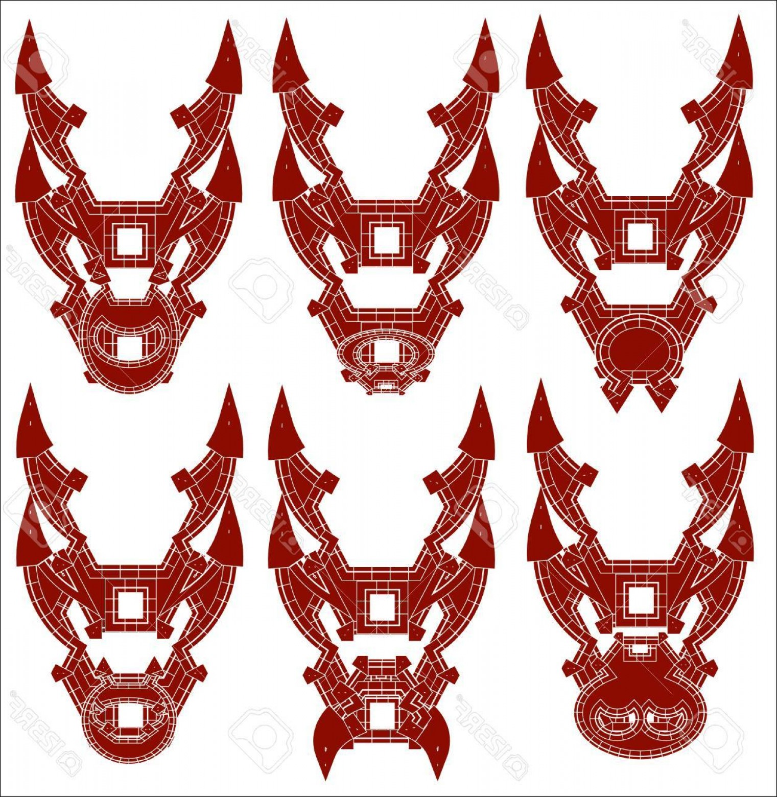 Red Samurai Vector: Photostock Vector Vector Illustration Of A Red Samurai Mask