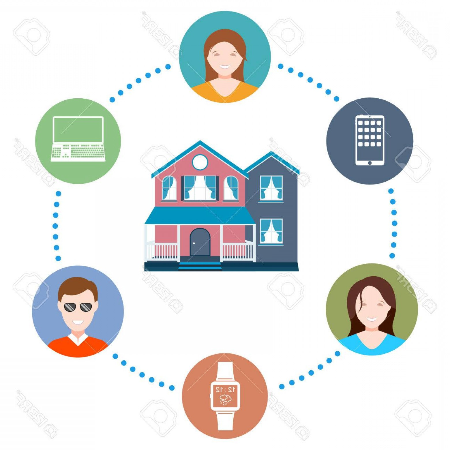 Smart Home Remote Vector: Photostock Vector Vector Illustration Of A Smart Home On White Isolated Background Modern Cottage With A Remote Contro
