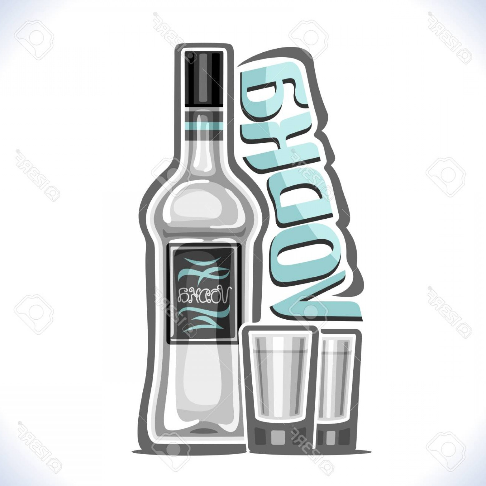Booze Bottle Vector: Photostock Vector Vector Illustration Of Alcohol Drink Vodka Poster With Transparent Bottle Of Premium Russian Booze A